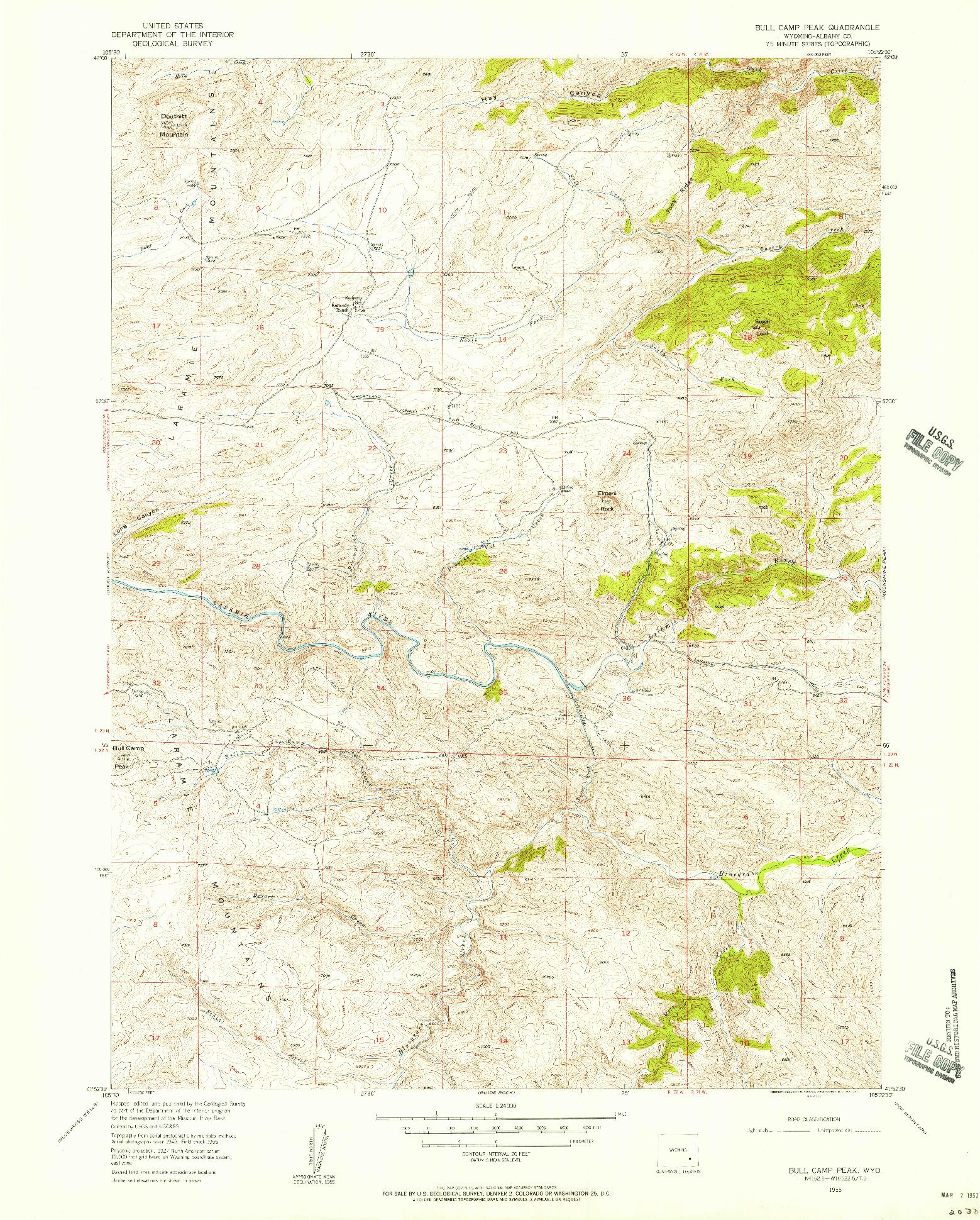 USGS 1:24000-SCALE QUADRANGLE FOR BULL CAMP PEAK, WY 1955