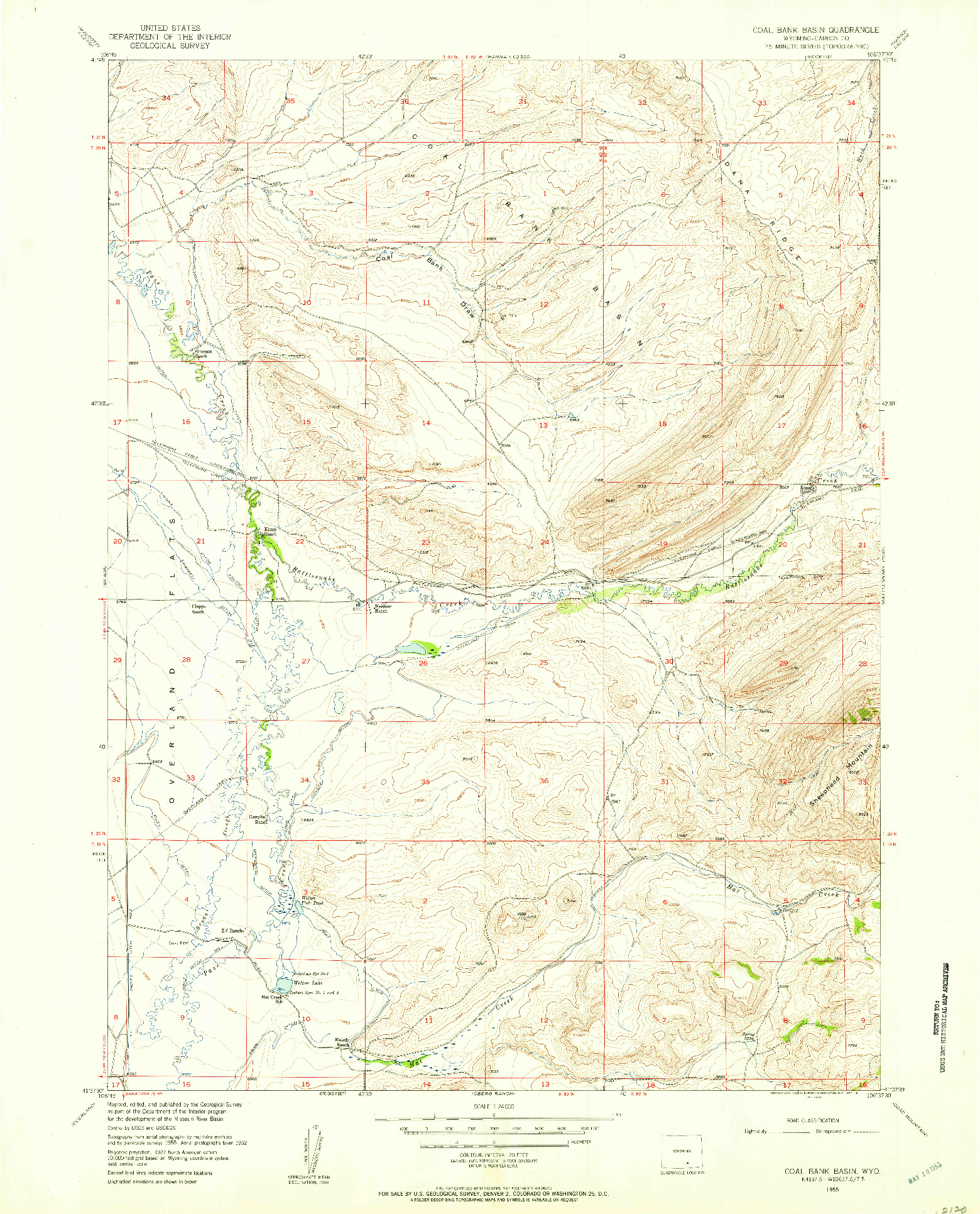 USGS 1:24000-SCALE QUADRANGLE FOR COAL BANK BASIN, WY 1955