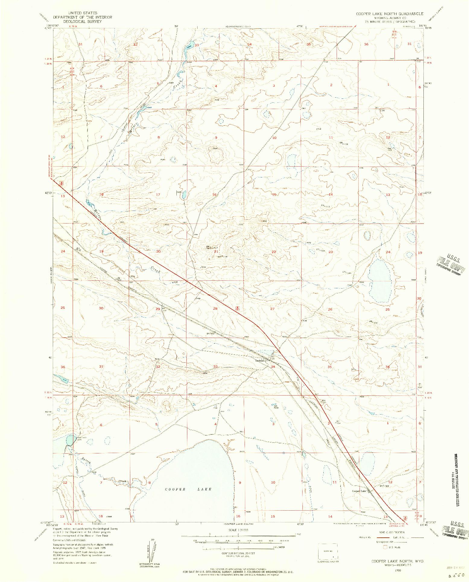 USGS 1:24000-SCALE QUADRANGLE FOR COOPER LAKE NORTH, WY 1955