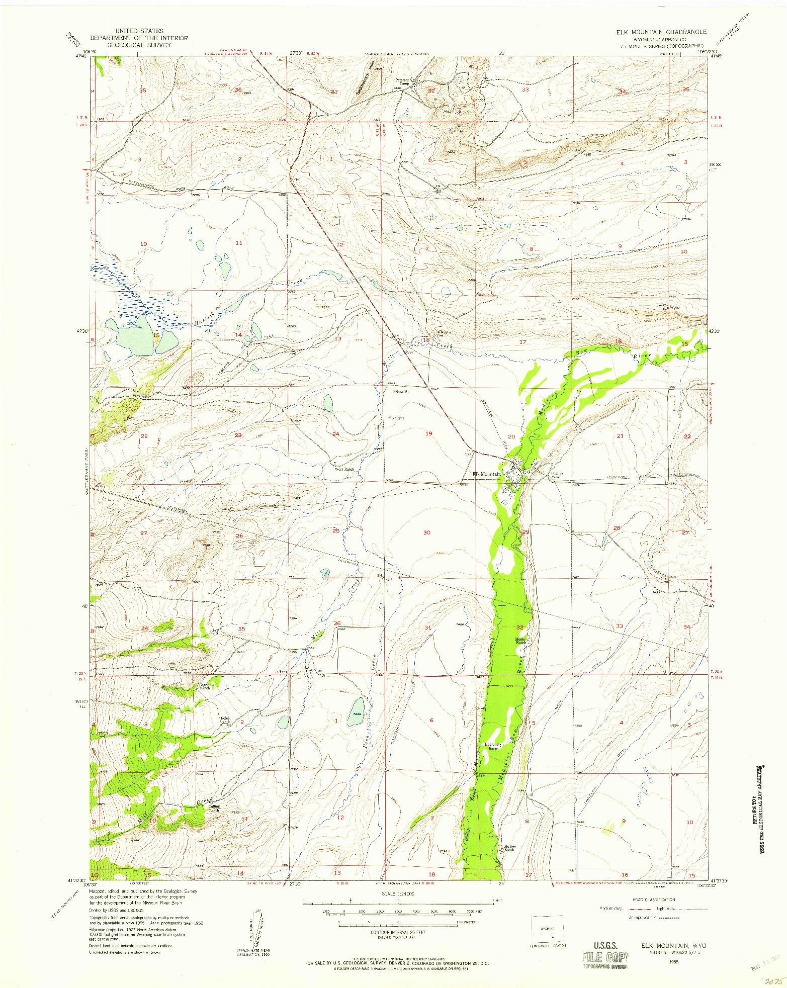 USGS 1:24000-SCALE QUADRANGLE FOR ELK MOUNTAIN, WY 1955