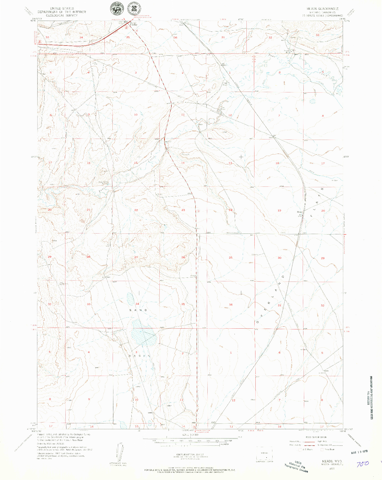 USGS 1:24000-SCALE QUADRANGLE FOR MEADS, WY 1955