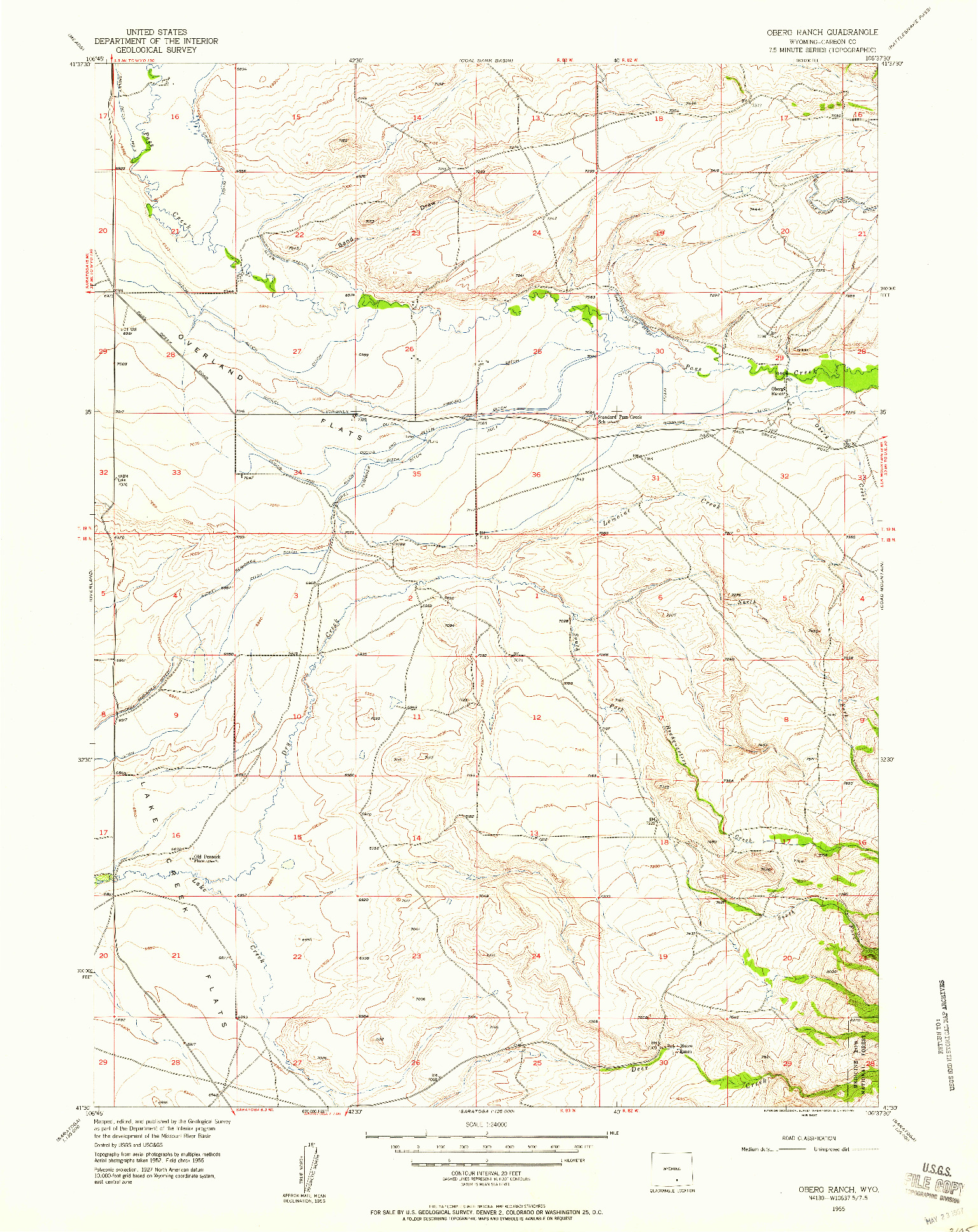 USGS 1:24000-SCALE QUADRANGLE FOR OBERG RANCH, WY 1955