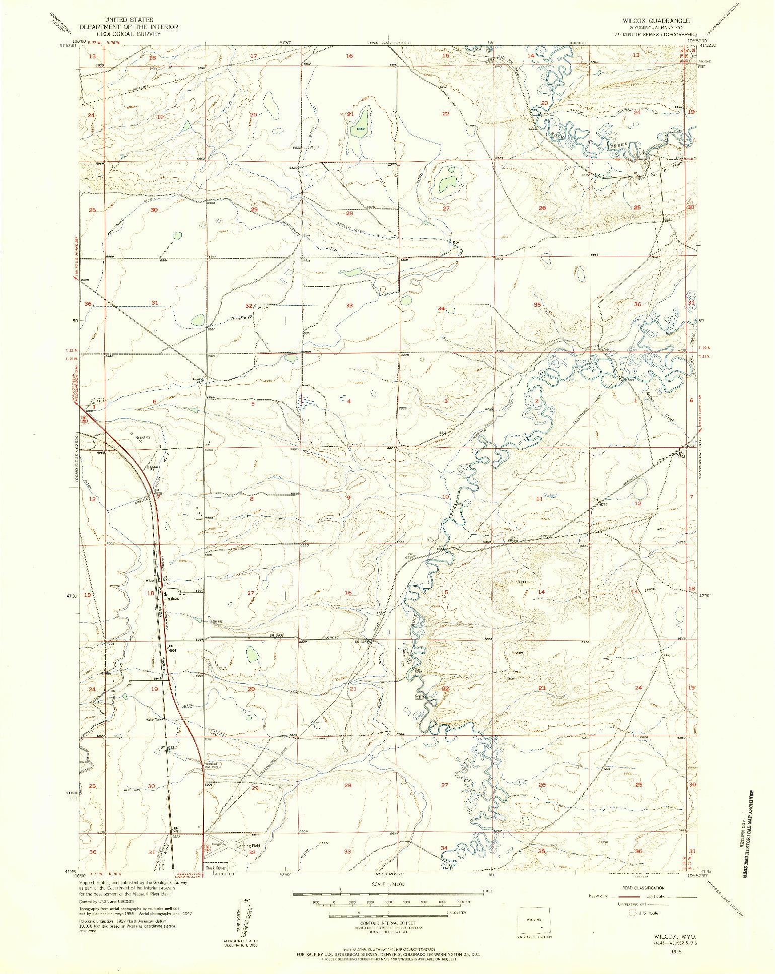 USGS 1:24000-SCALE QUADRANGLE FOR WILCOX, WY 1955