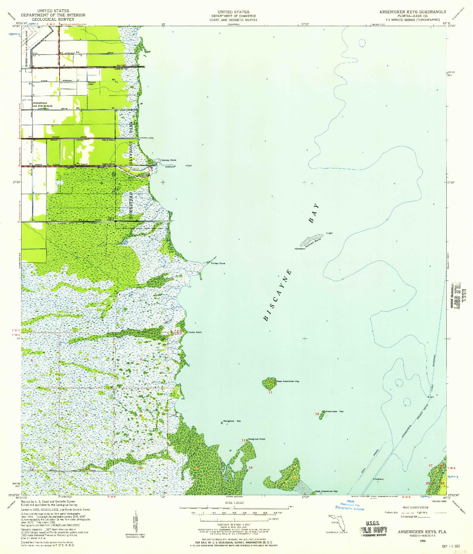USGS 1:24000-SCALE QUADRANGLE FOR ARSENICKER KEYS, FL 1956