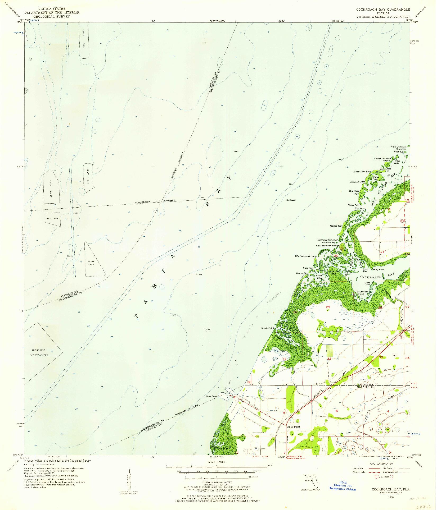 USGS 1:24000-SCALE QUADRANGLE FOR COCKROACH BAY, FL 1956