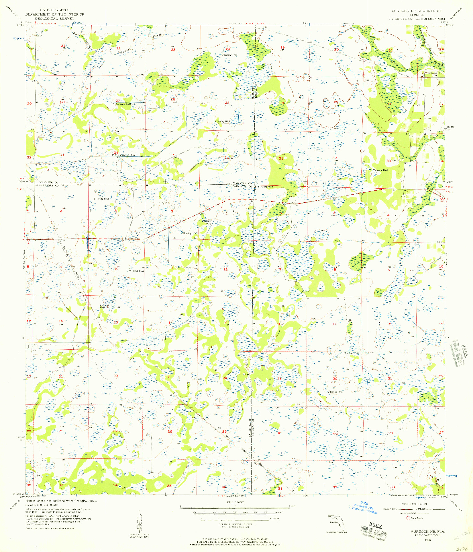 USGS 1:24000-SCALE QUADRANGLE FOR MURDOCK NE, FL 1956