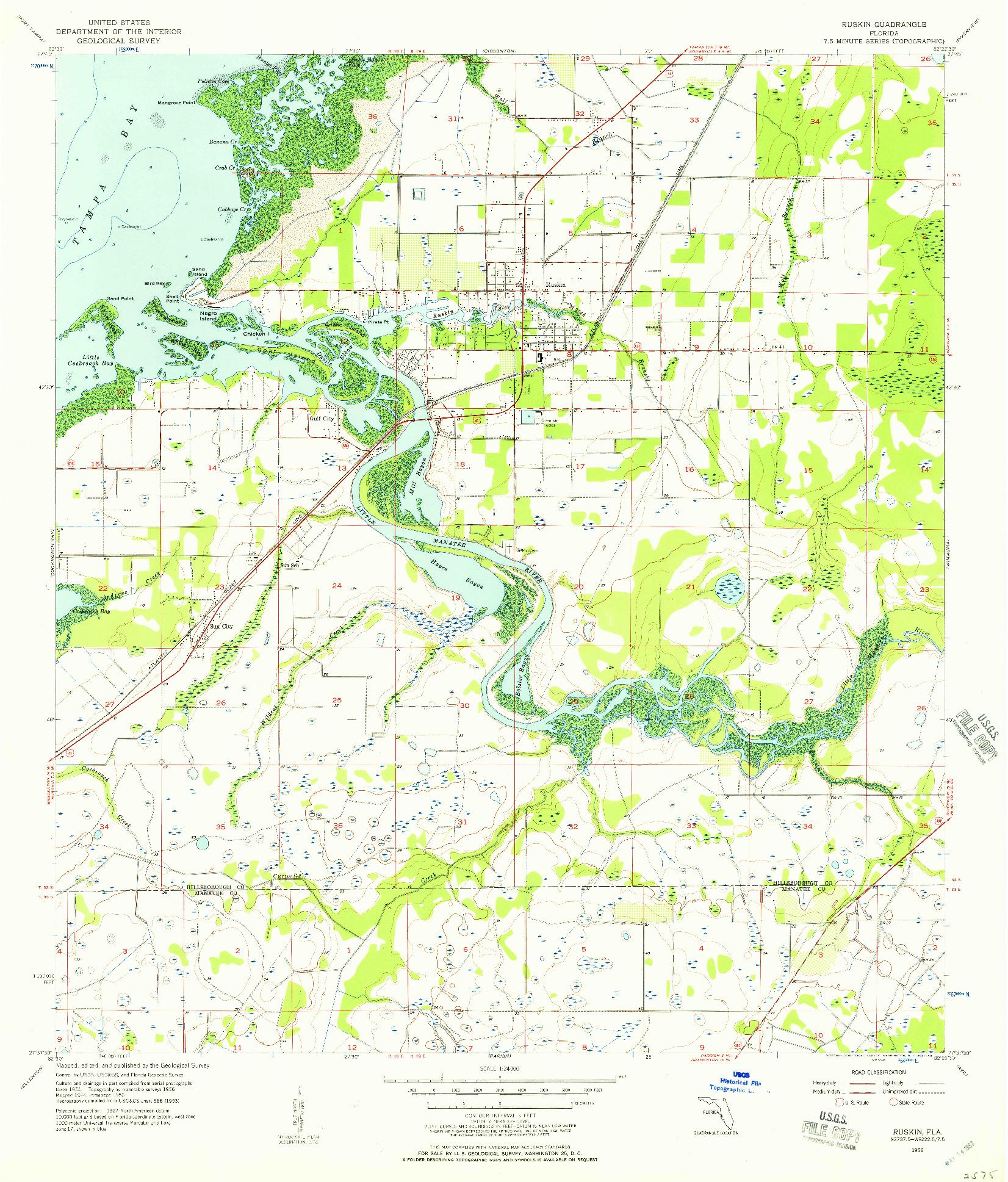 USGS 1:24000-SCALE QUADRANGLE FOR RUSKIN, FL 1956