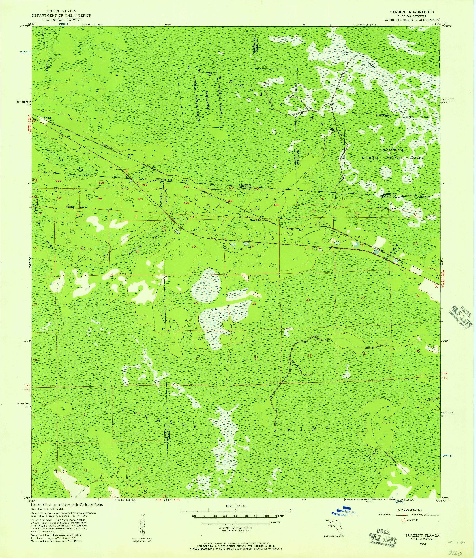 USGS 1:24000-SCALE QUADRANGLE FOR SARGENT, FL 1956