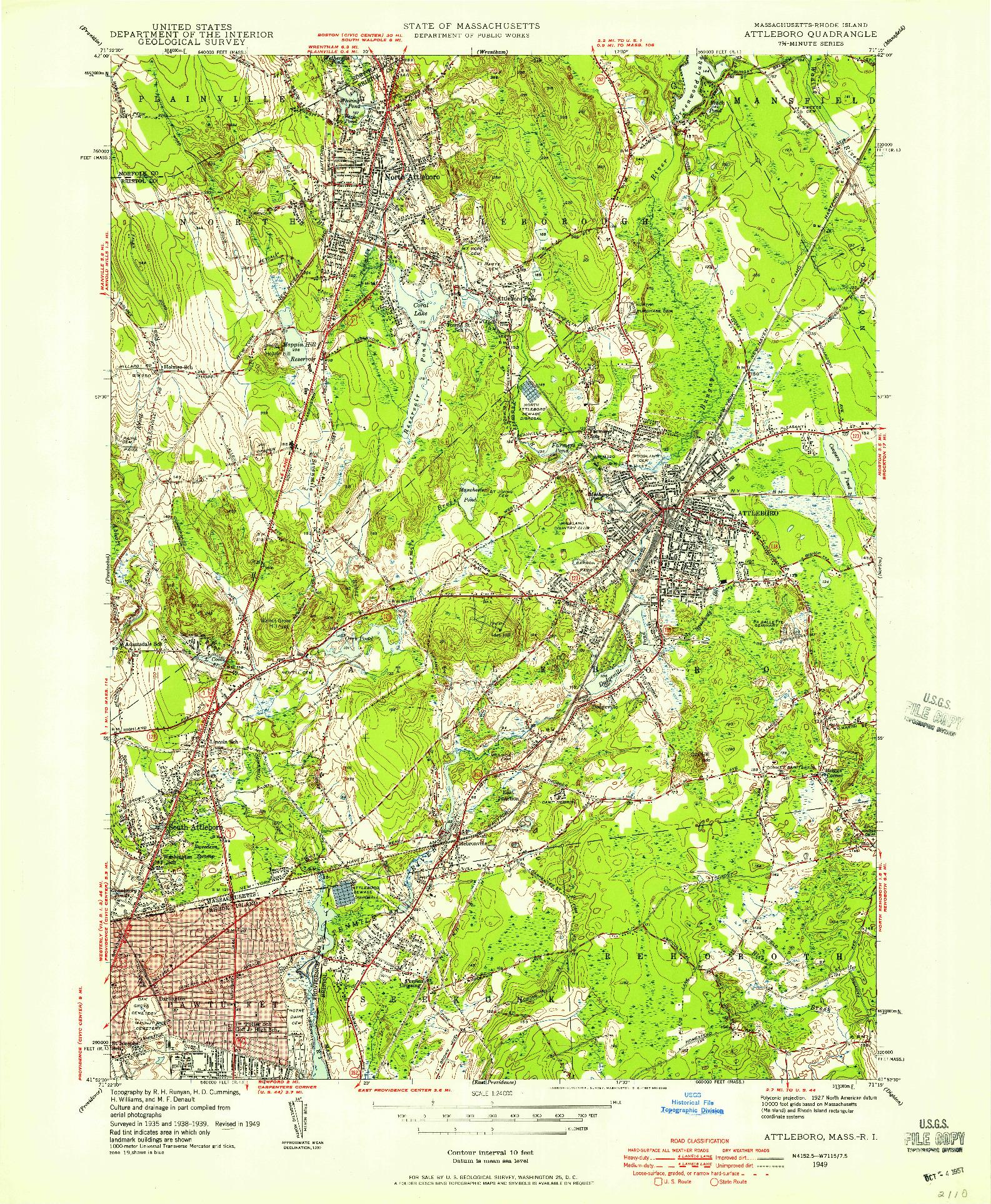 USGS 1:24000-SCALE QUADRANGLE FOR ATTLEBORO, MA 1949