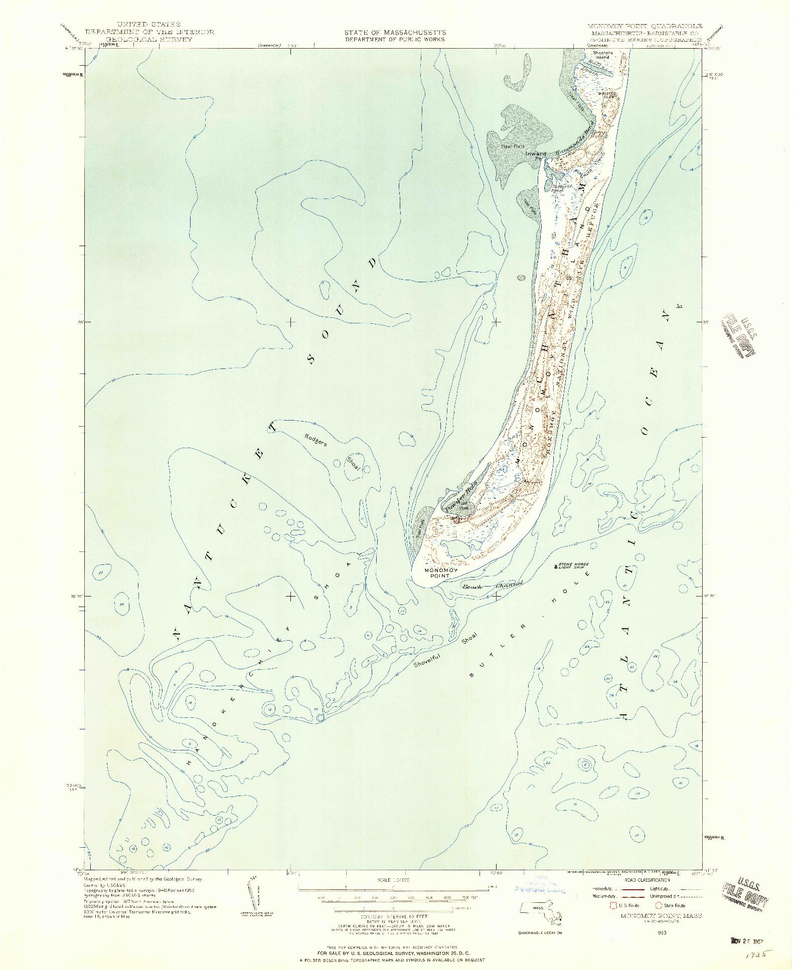 USGS 1:24000-SCALE QUADRANGLE FOR MONOMOY POINT, MA 1953