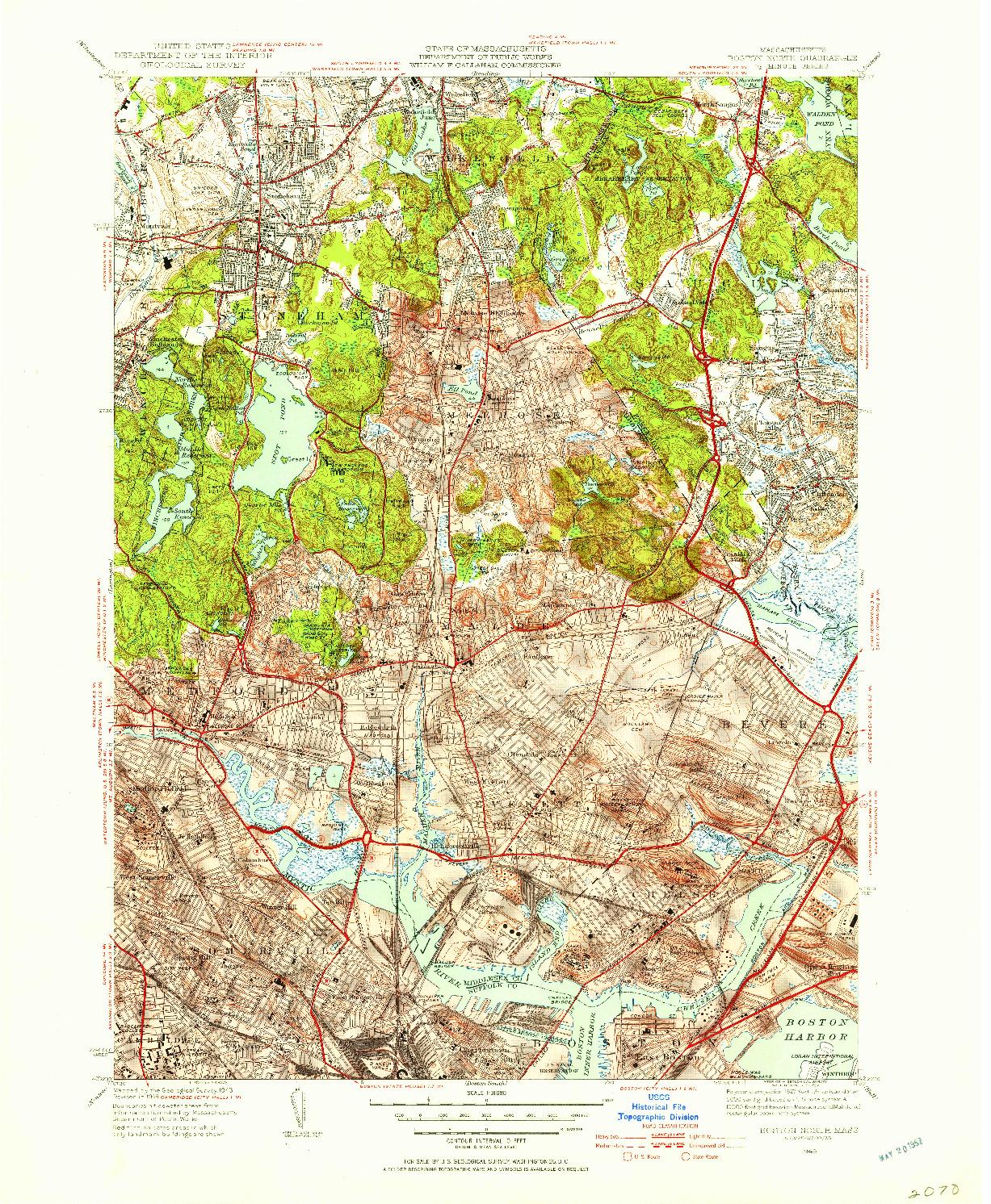USGS 1:31680-SCALE QUADRANGLE FOR BOSTON NORTH, MA 1949