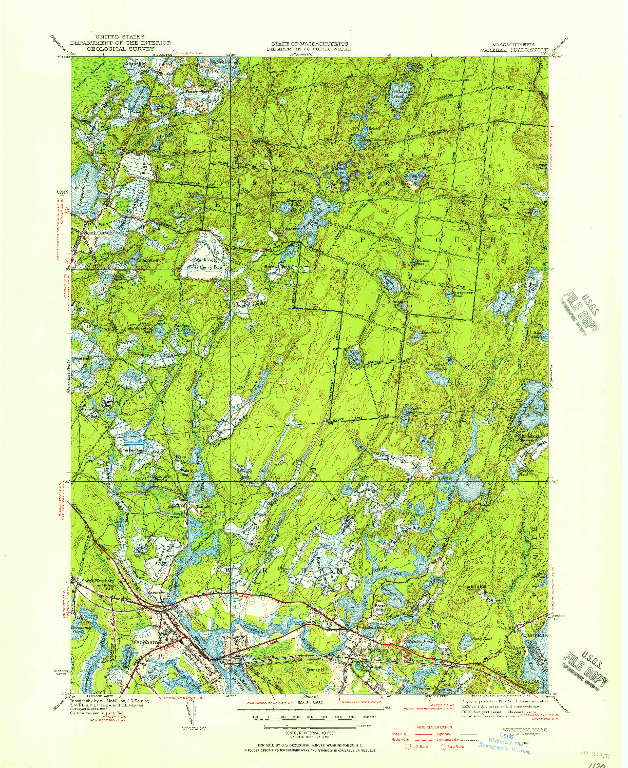 USGS 1:31680-SCALE QUADRANGLE FOR WAREHAM, MA 1946