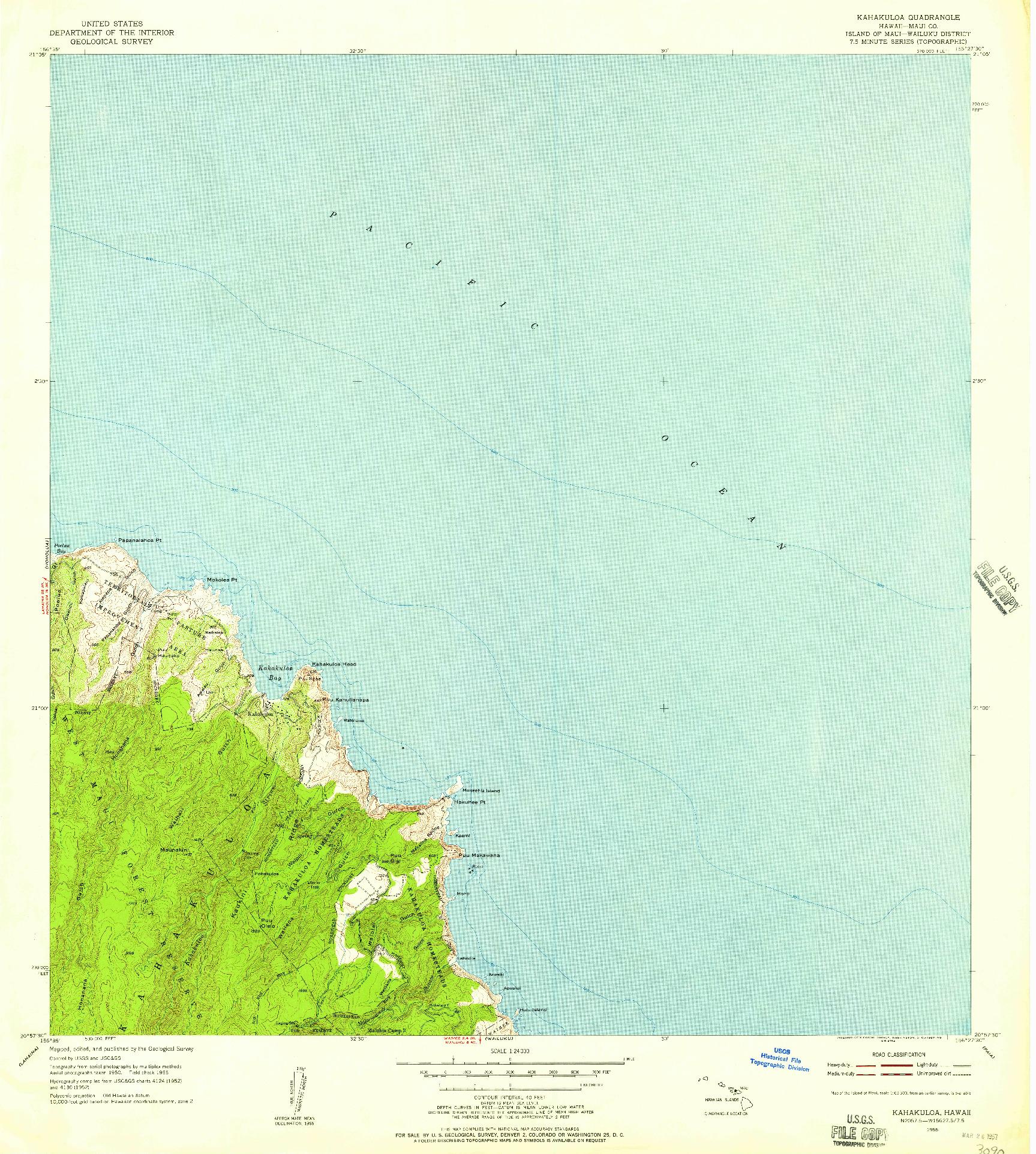 USGS 1:24000-SCALE QUADRANGLE FOR KAHAKULOA, HI 1955