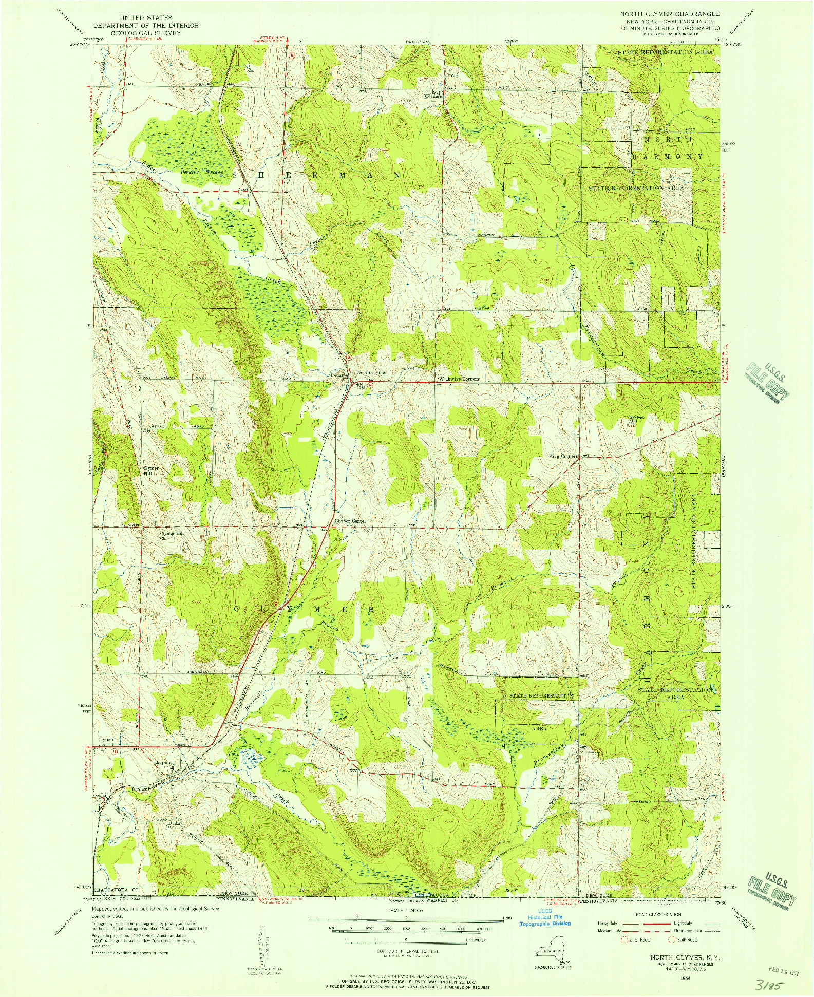 USGS 1:24000-SCALE QUADRANGLE FOR NORTH CLYMER, NY 1954