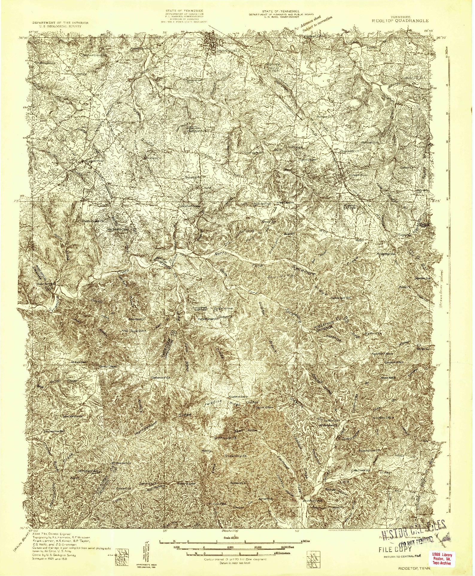 USGS 1:48000-SCALE QUADRANGLE FOR RIDGETOP, TN 1931