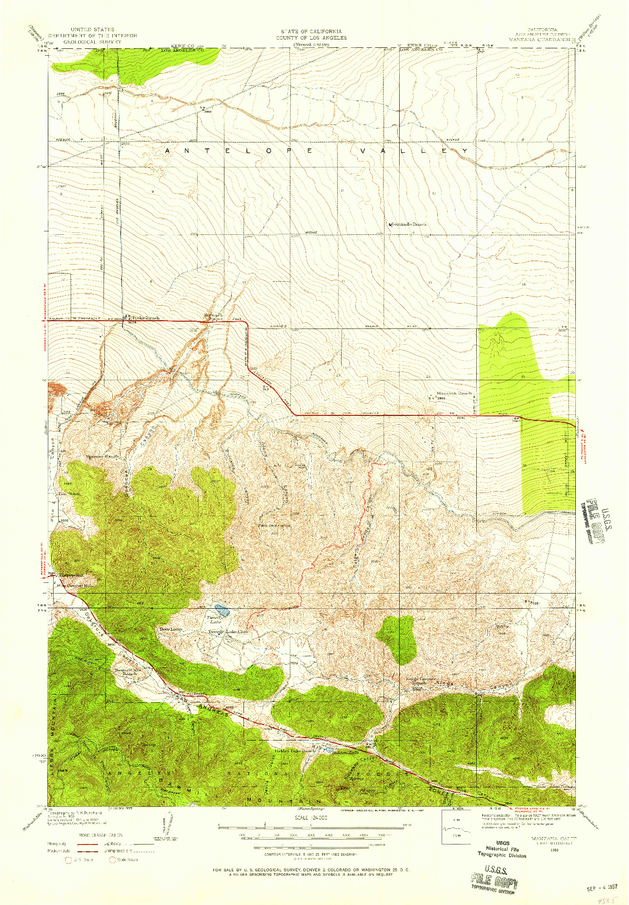 USGS 1:24000-SCALE QUADRANGLE FOR MANZANA, CA 1950