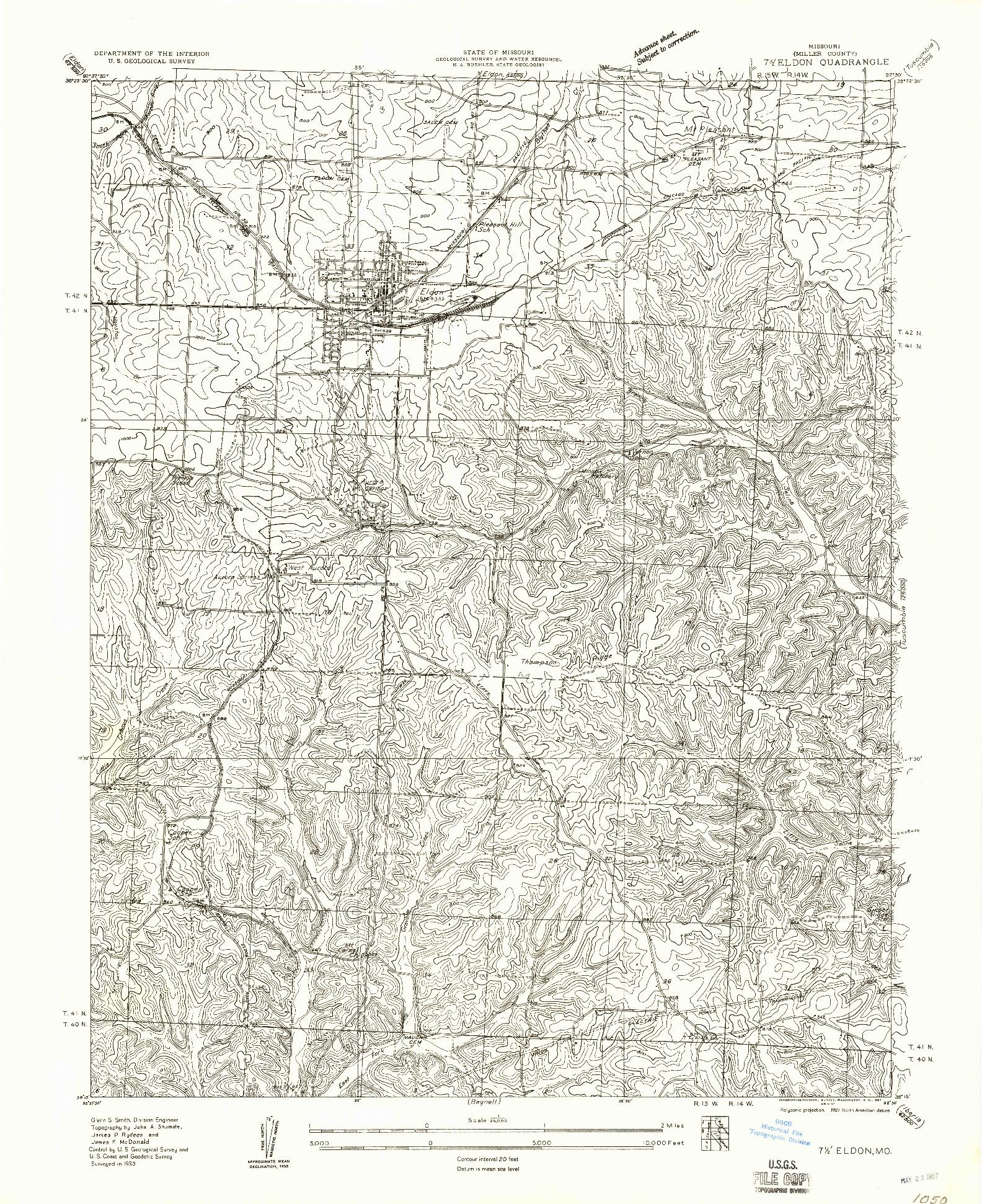 USGS 1:24000-SCALE QUADRANGLE FOR ELDON, MO 1935