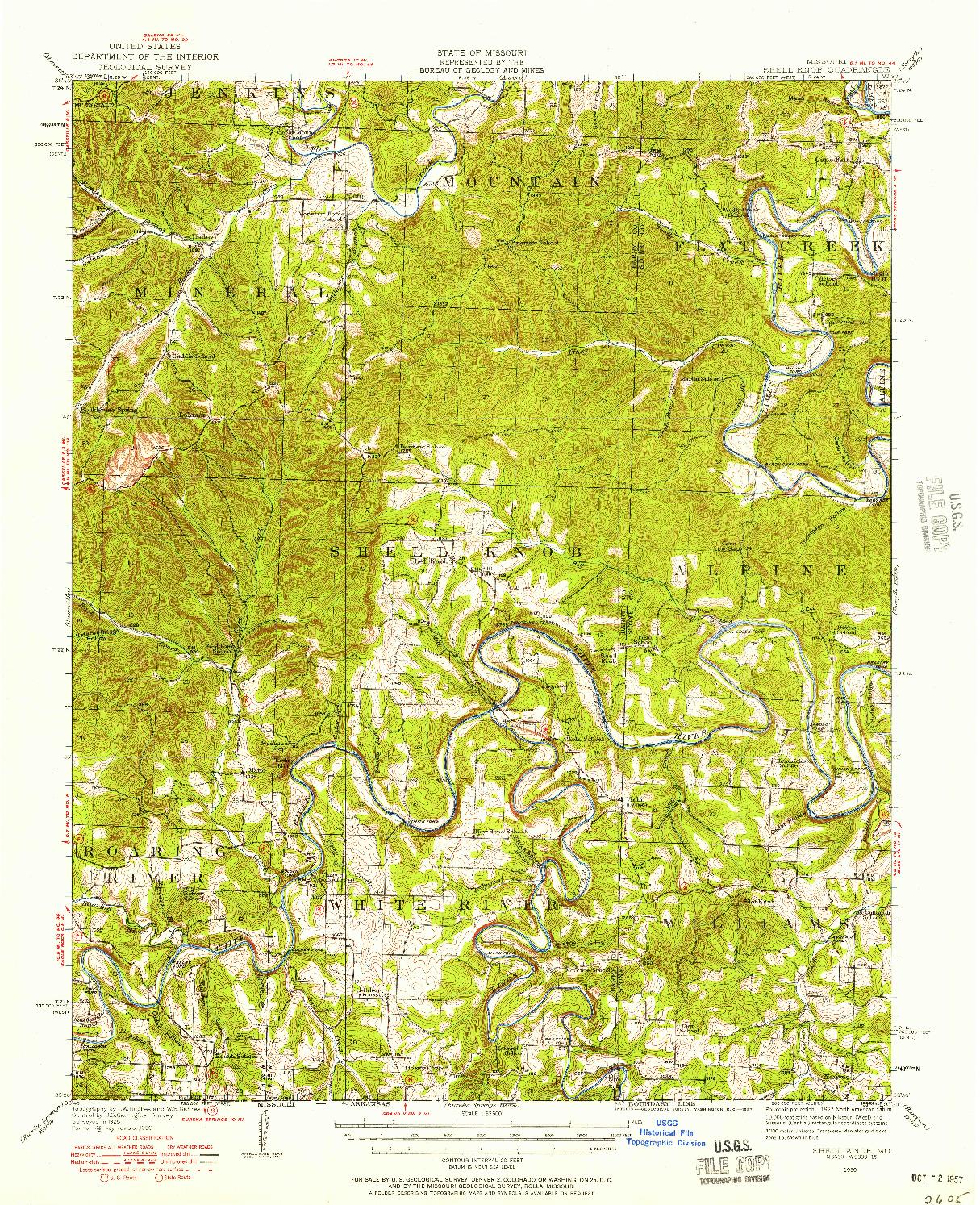 USGS 1:62500-SCALE QUADRANGLE FOR SHELL KNOB, MO 1950