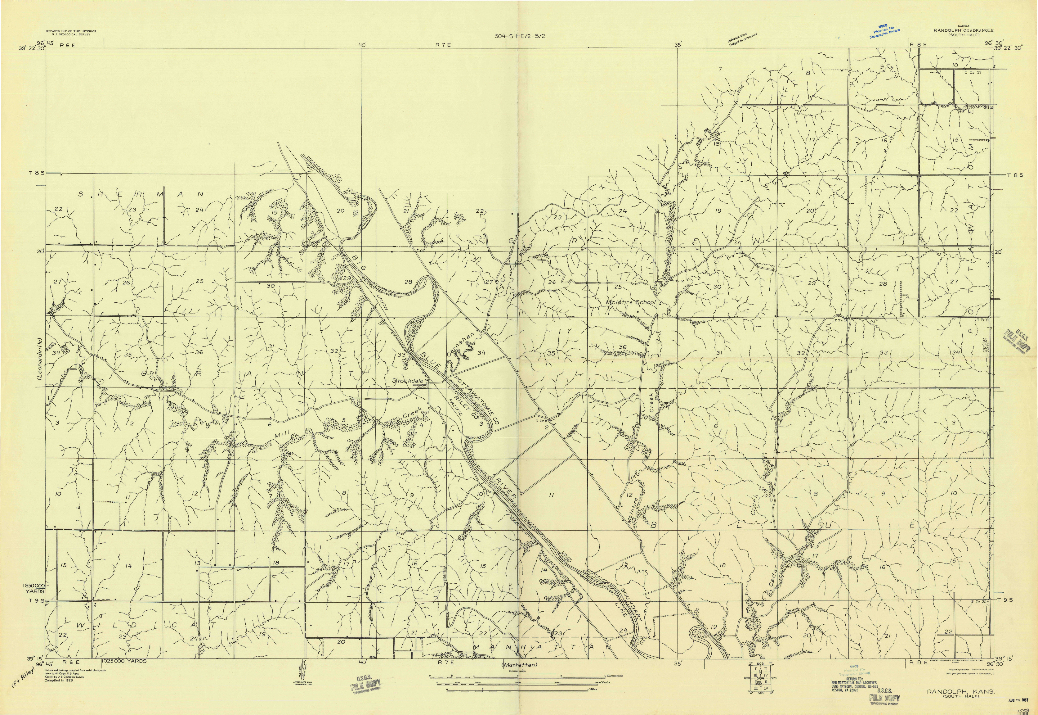 USGS 1:20000-SCALE QUADRANGLE FOR RANDOLPH, KS 1957