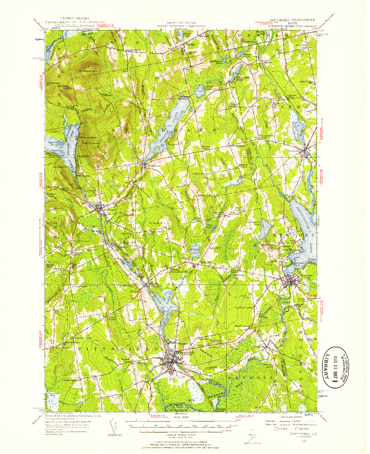 USGS 1:62500-SCALE QUADRANGLE FOR PITTSFIELD, ME 1955