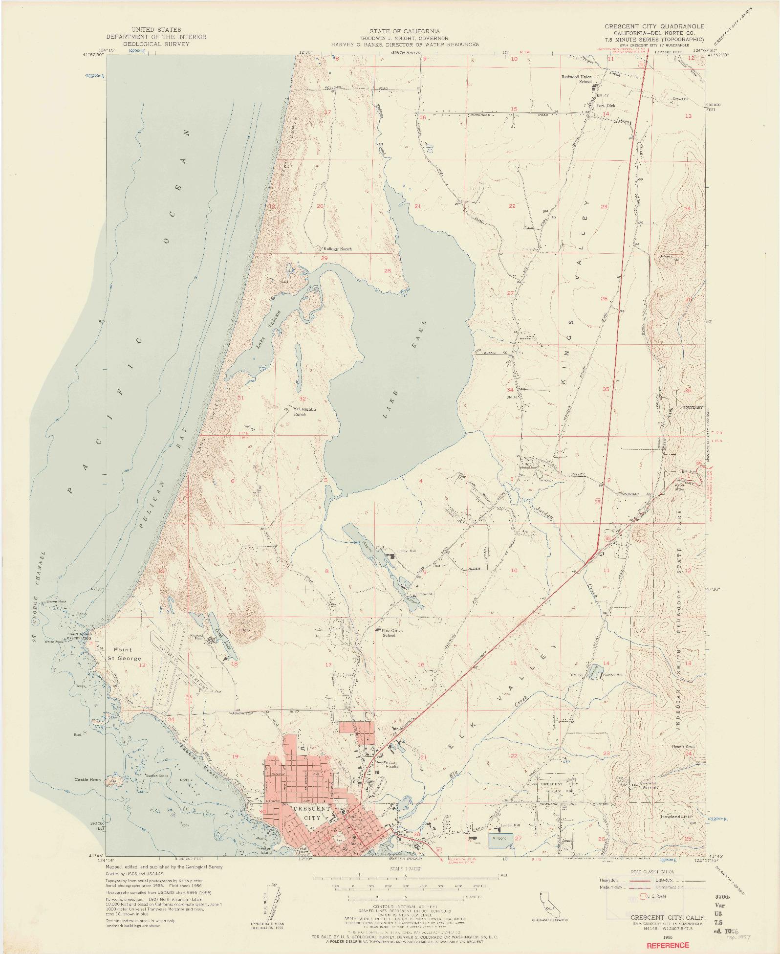 USGS 1:24000-SCALE QUADRANGLE FOR CRESCENT CITY, CA 1956