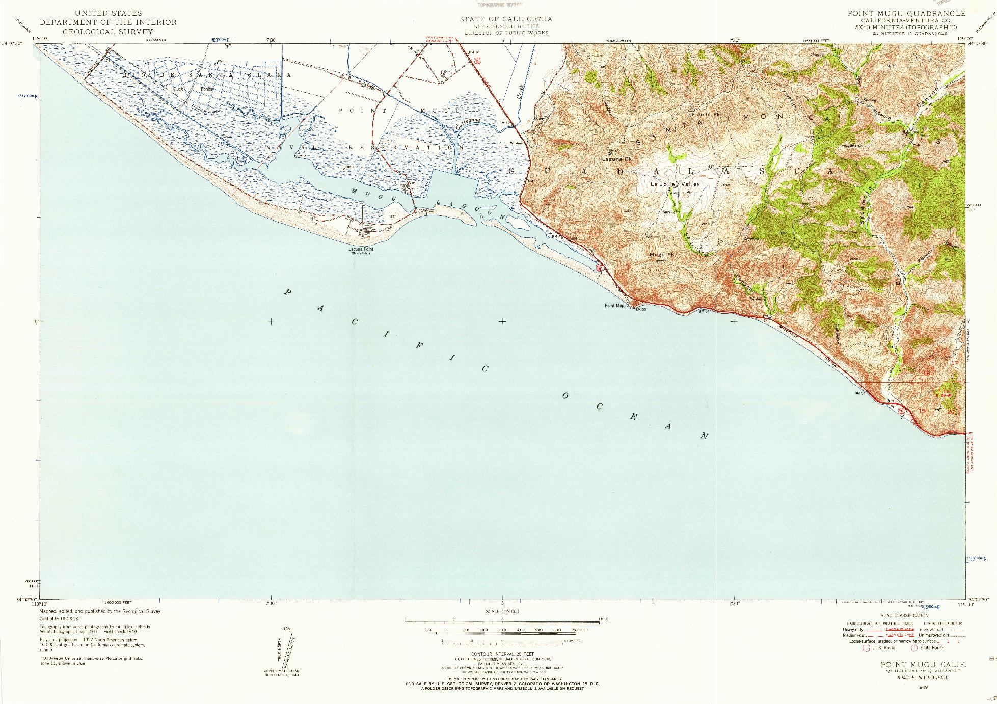 USGS 1:24000-SCALE QUADRANGLE FOR POINT MUGU, CA 1949