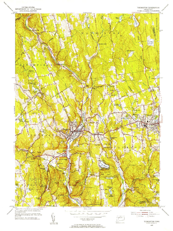 USGS 1:31680-SCALE QUADRANGLE FOR THOMASTON, CT 1956