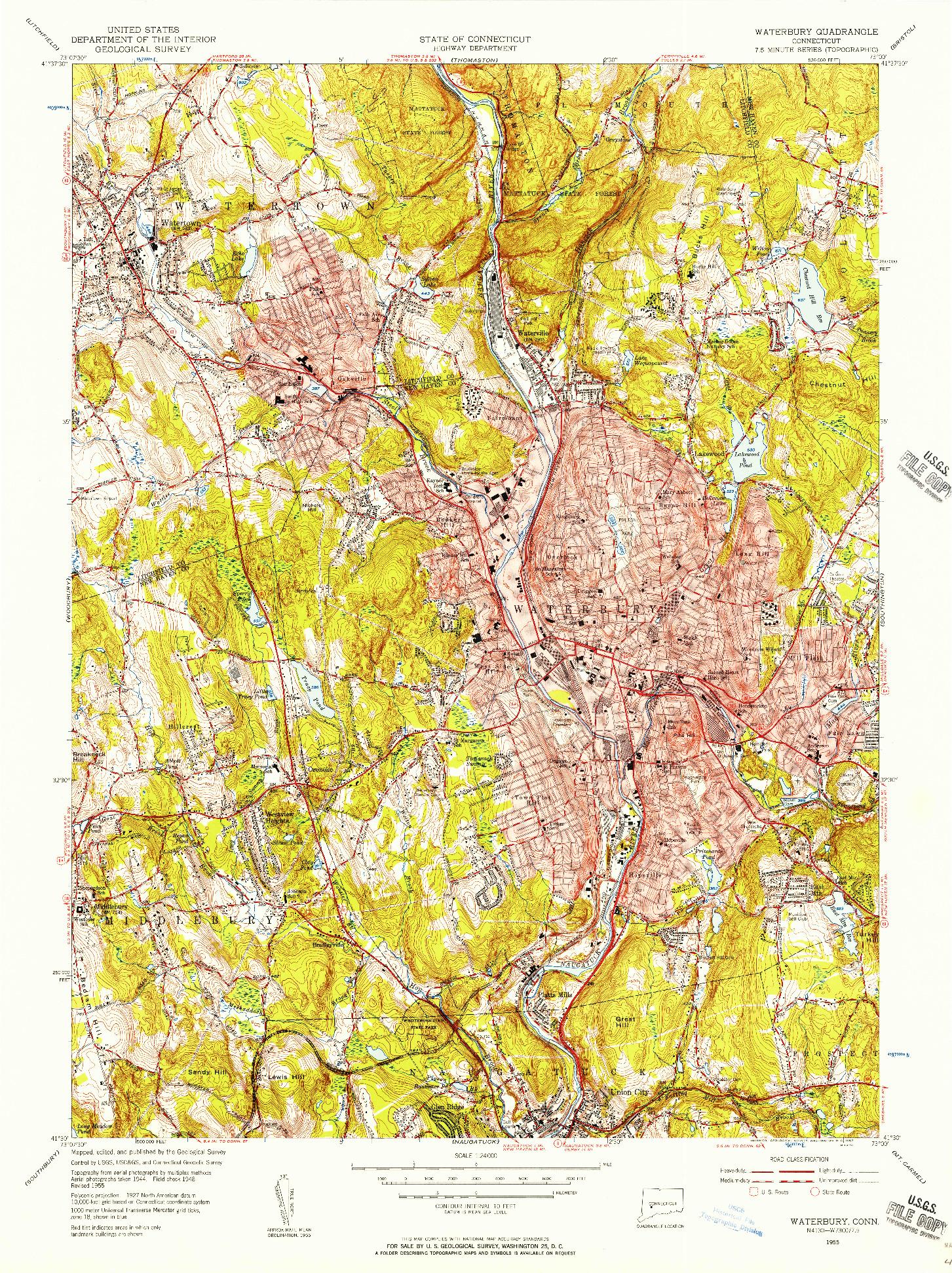 USGS 1:24000-SCALE QUADRANGLE FOR WATERBURY, CT 1955