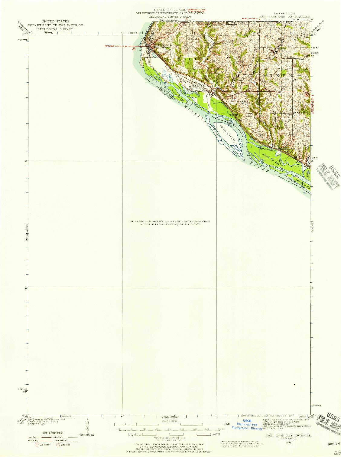 USGS 1:62500-SCALE QUADRANGLE FOR EAST DUBUQUE, IA 1935