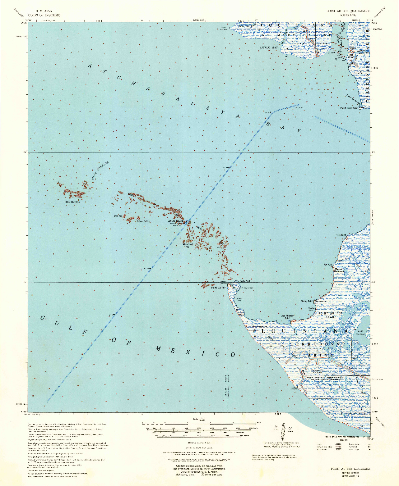 USGS 1:62500-SCALE QUADRANGLE FOR POINT AU FER, LA 1957