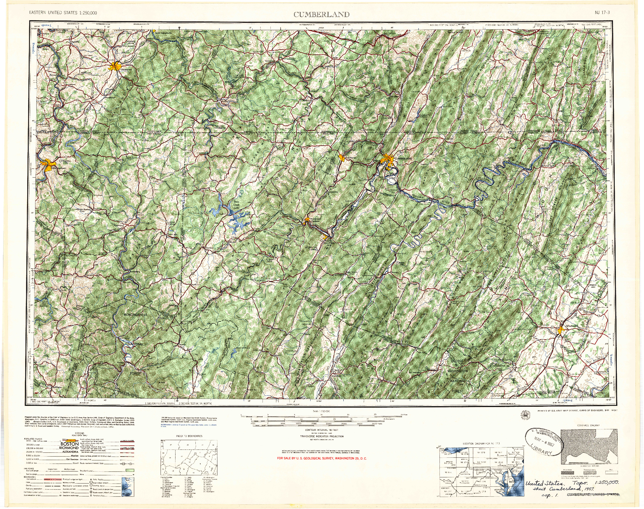 USGS 1:250000-SCALE QUADRANGLE FOR CUMBERLAND, MD 1957