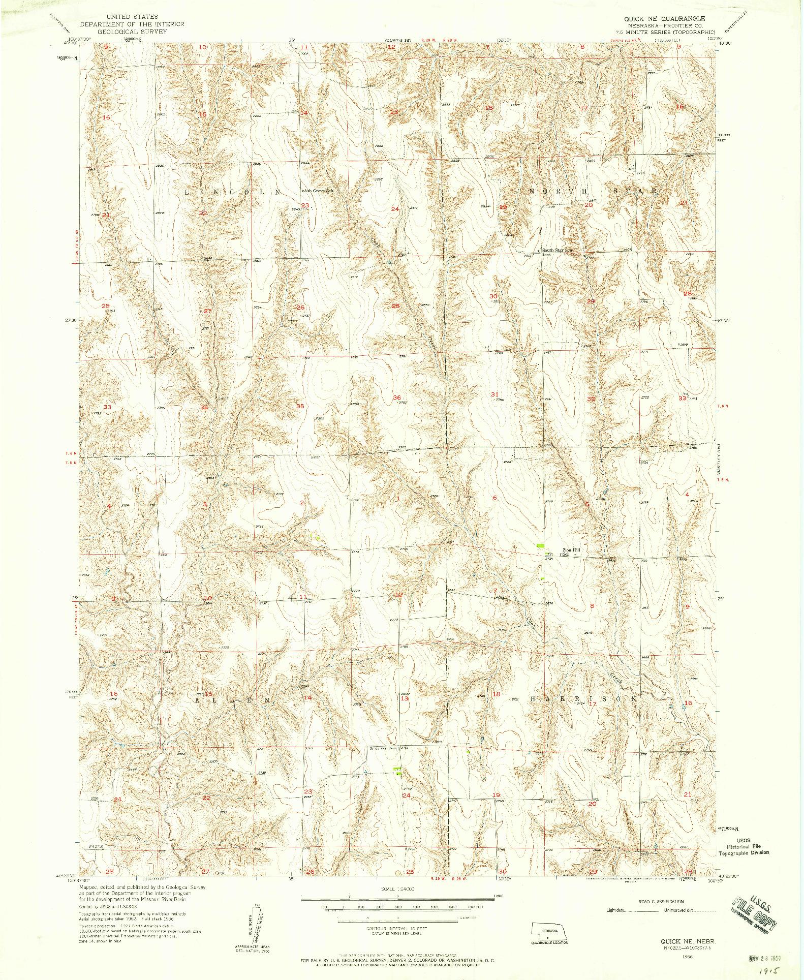 USGS 1:24000-SCALE QUADRANGLE FOR QUICK NE, NE 1956