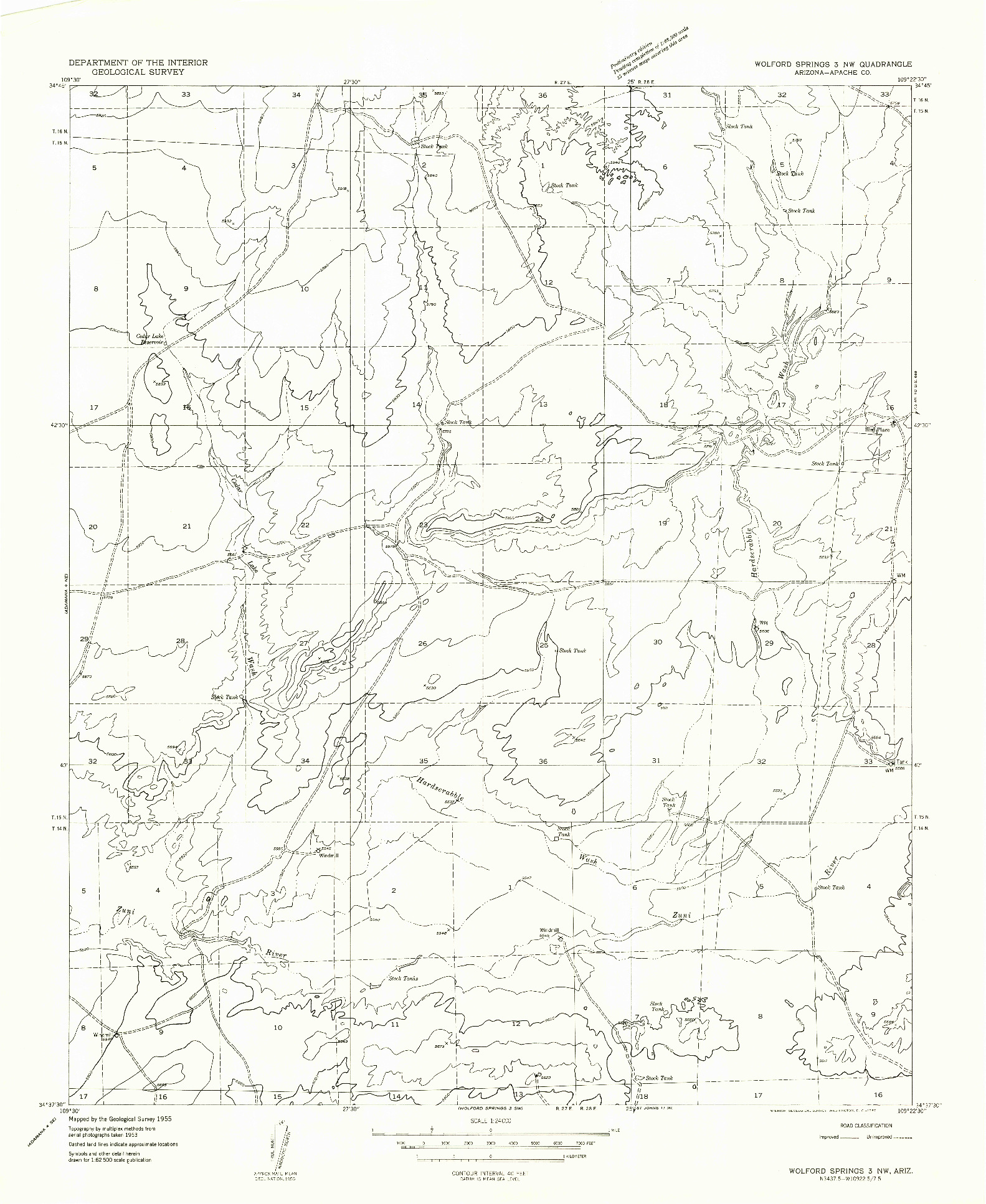 USGS 1:24000-SCALE QUADRANGLE FOR WOLFORD SPRINGS 3 NW, AZ 1955