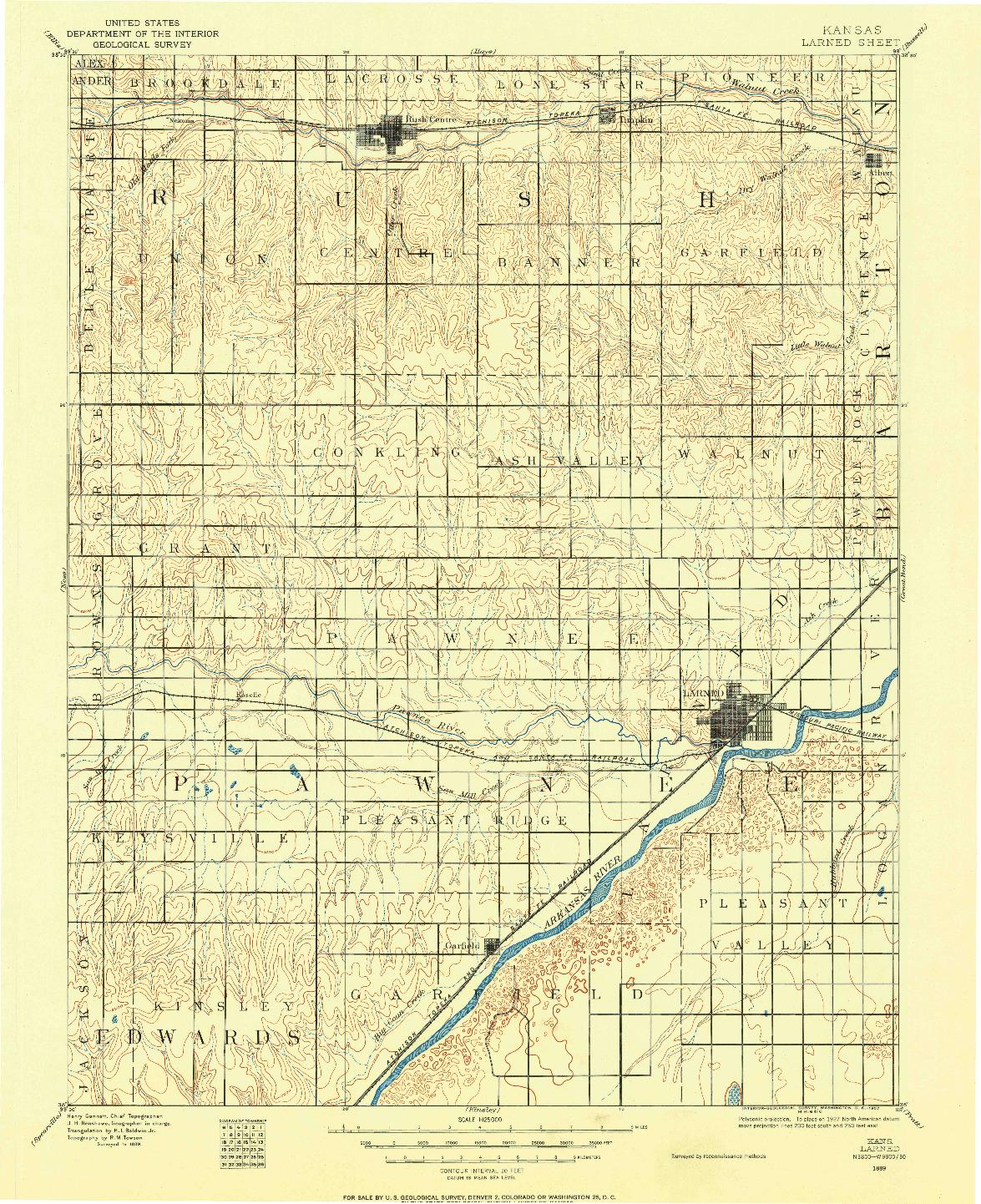 USGS 1:125000-SCALE QUADRANGLE FOR LARNED, KS 1889