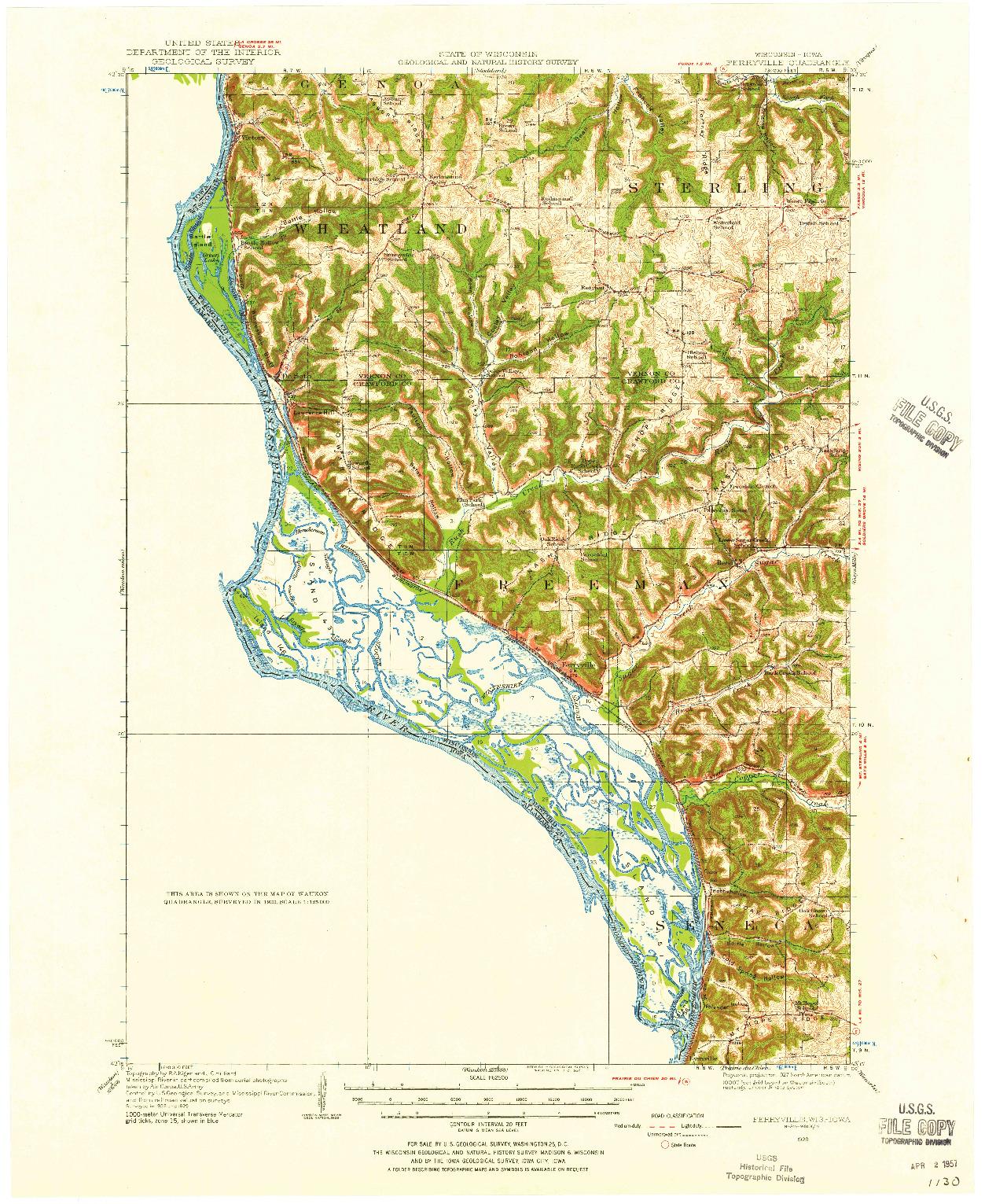 USGS 1:62500-SCALE QUADRANGLE FOR FERRYVILLE, WI 1929
