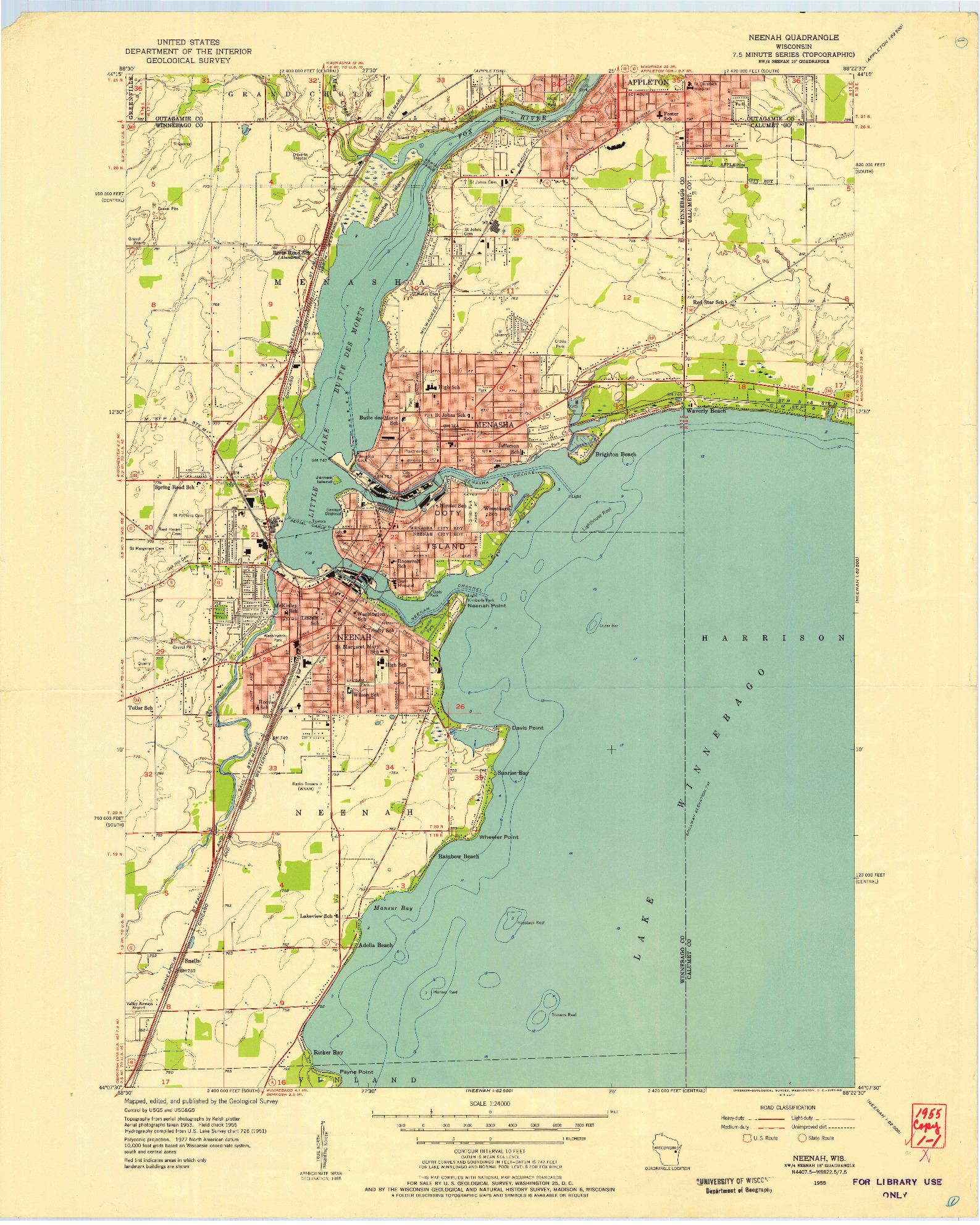 USGS 1:24000-SCALE QUADRANGLE FOR NEENAH, WI 1955