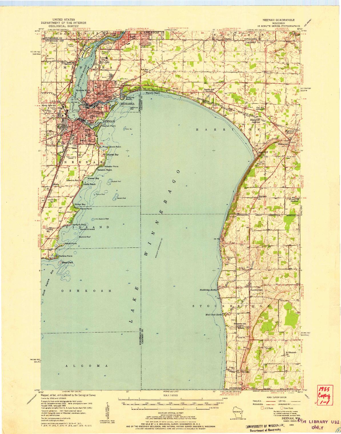 USGS 1:62500-SCALE QUADRANGLE FOR NEENAH, WI 1955