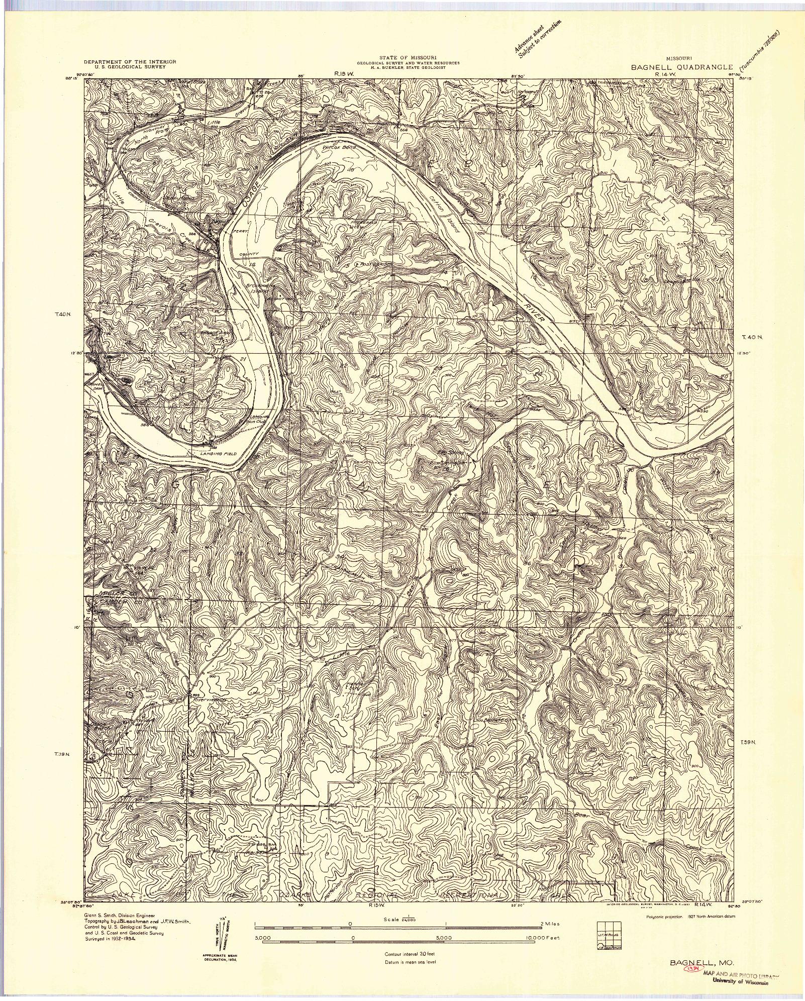 USGS 1:24000-SCALE QUADRANGLE FOR BAGNELL, MO 1957