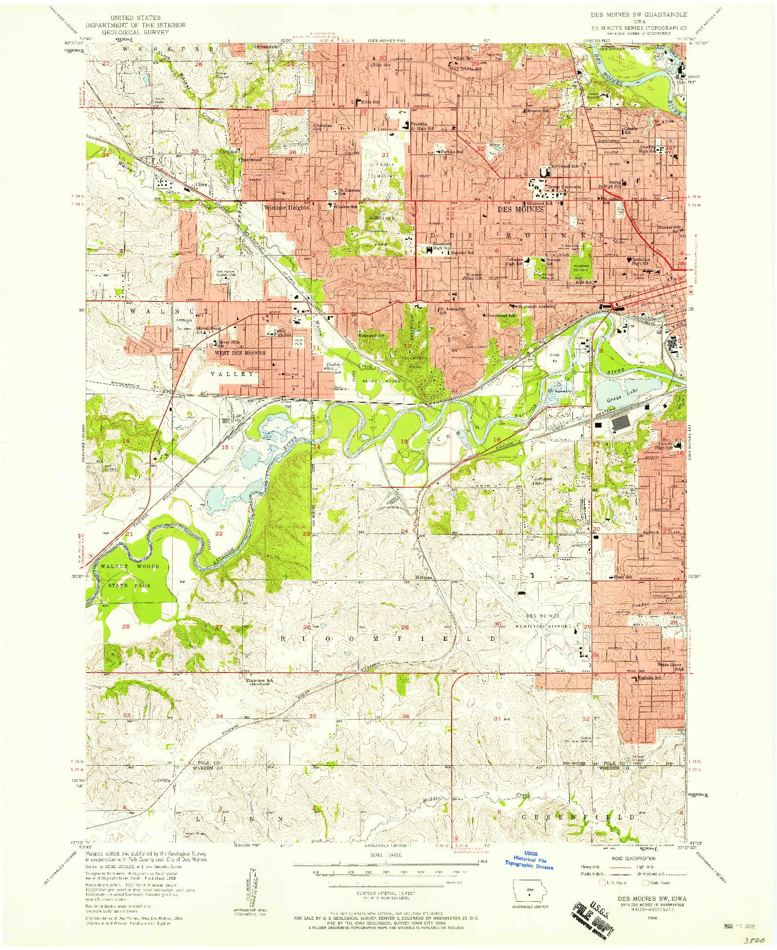 USGS 1:24000-SCALE QUADRANGLE FOR DES MOINES SW, IA 1956