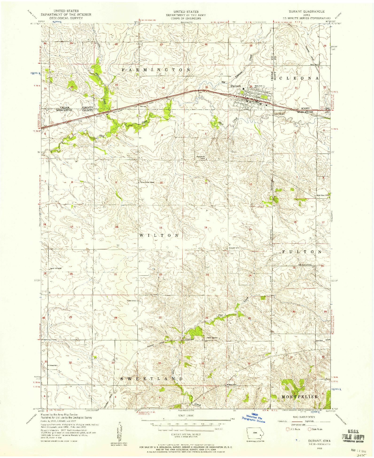 USGS 1:24000-SCALE QUADRANGLE FOR DURANT, IA 1953