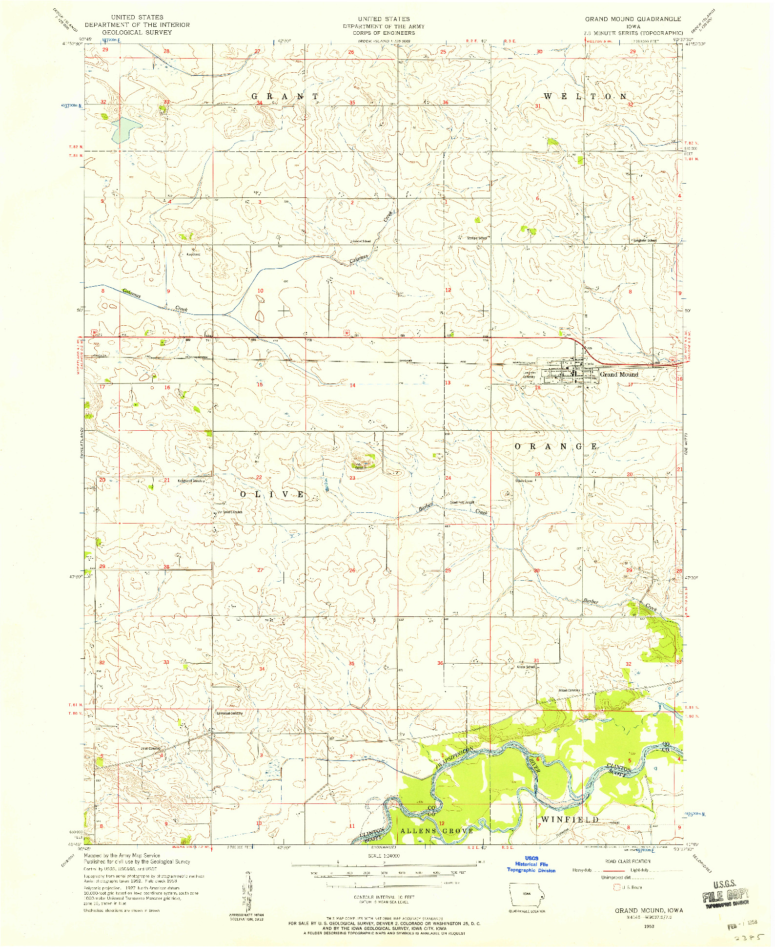 USGS 1:24000-SCALE QUADRANGLE FOR GRAND MOUND, IA 1953