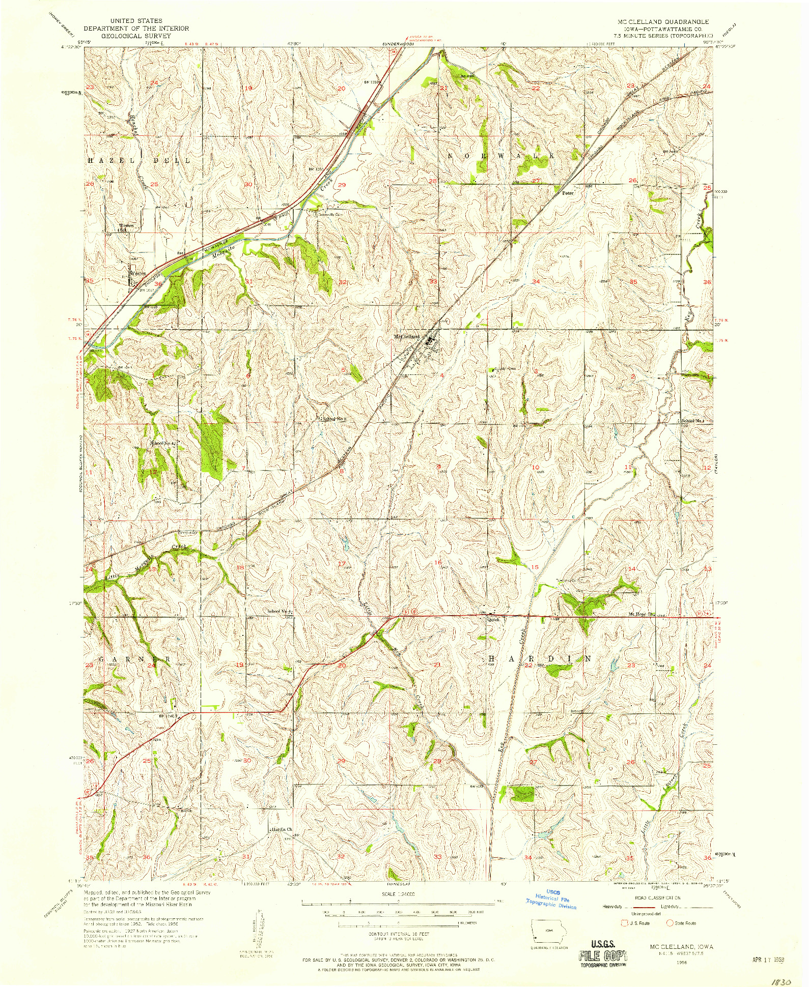 USGS 1:24000-SCALE QUADRANGLE FOR MC CLELLAND, IA 1956