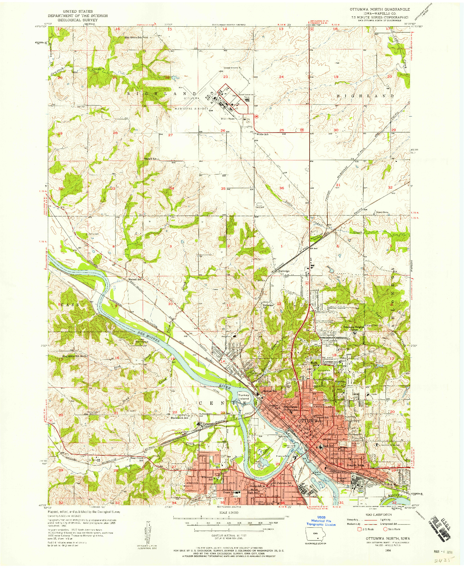 USGS 1:24000-SCALE QUADRANGLE FOR OTTUMWA NORTH, IA 1956