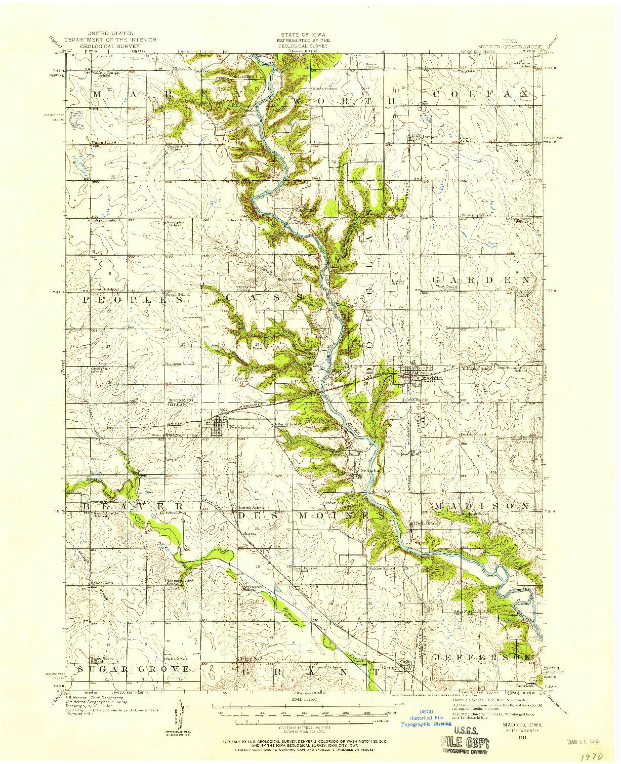 USGS 1:62500-SCALE QUADRANGLE FOR MADRID, IA 1911