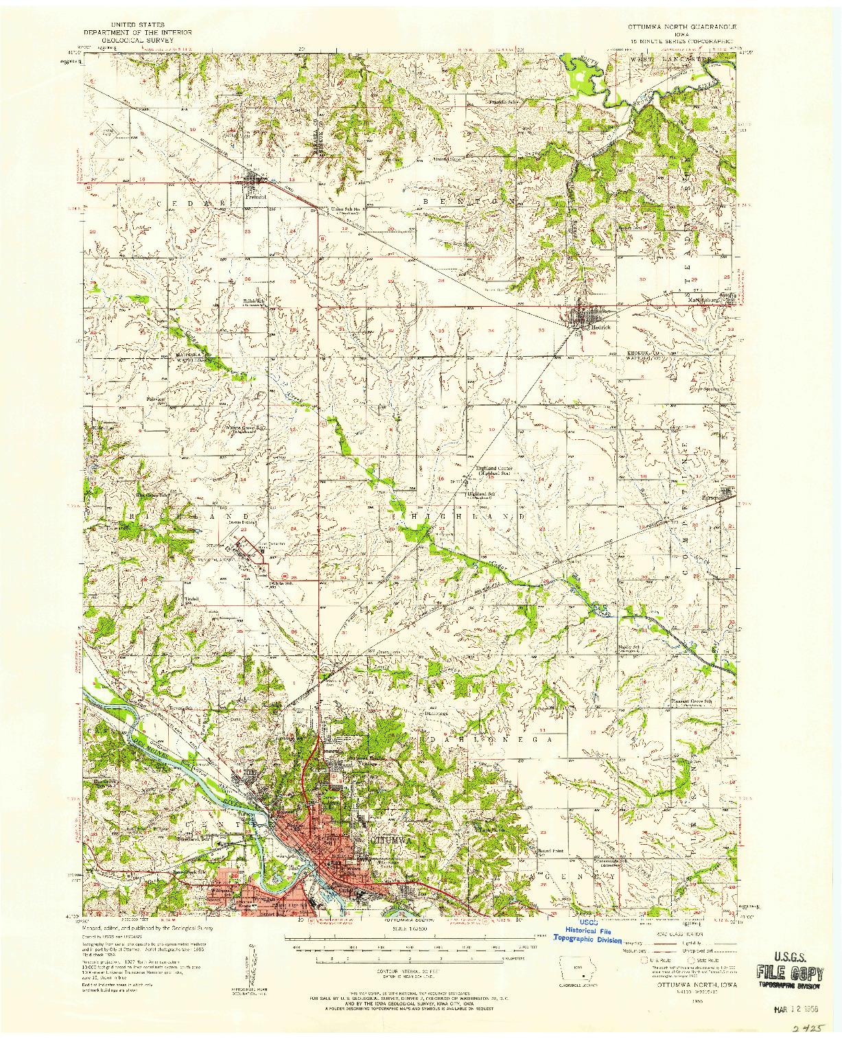 USGS 1:62500-SCALE QUADRANGLE FOR OTTUMWA NORTH, IA 1956