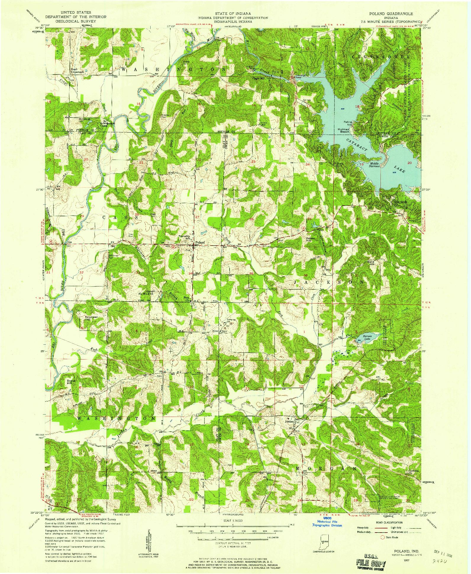 USGS 1:24000-SCALE QUADRANGLE FOR POLAND, IN 1957