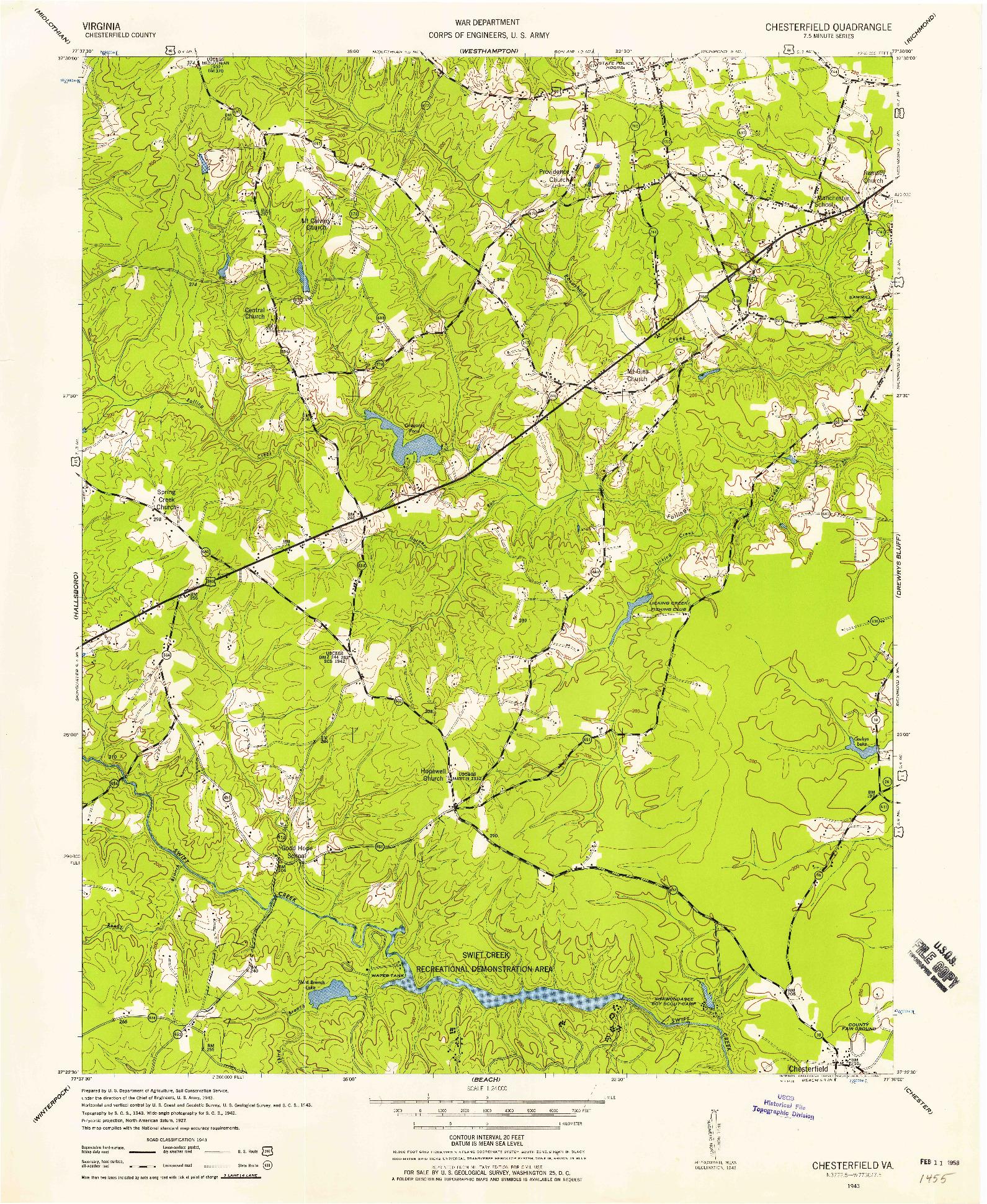 USGS 1:24000-SCALE QUADRANGLE FOR CHESTERFIELD, VA 1943