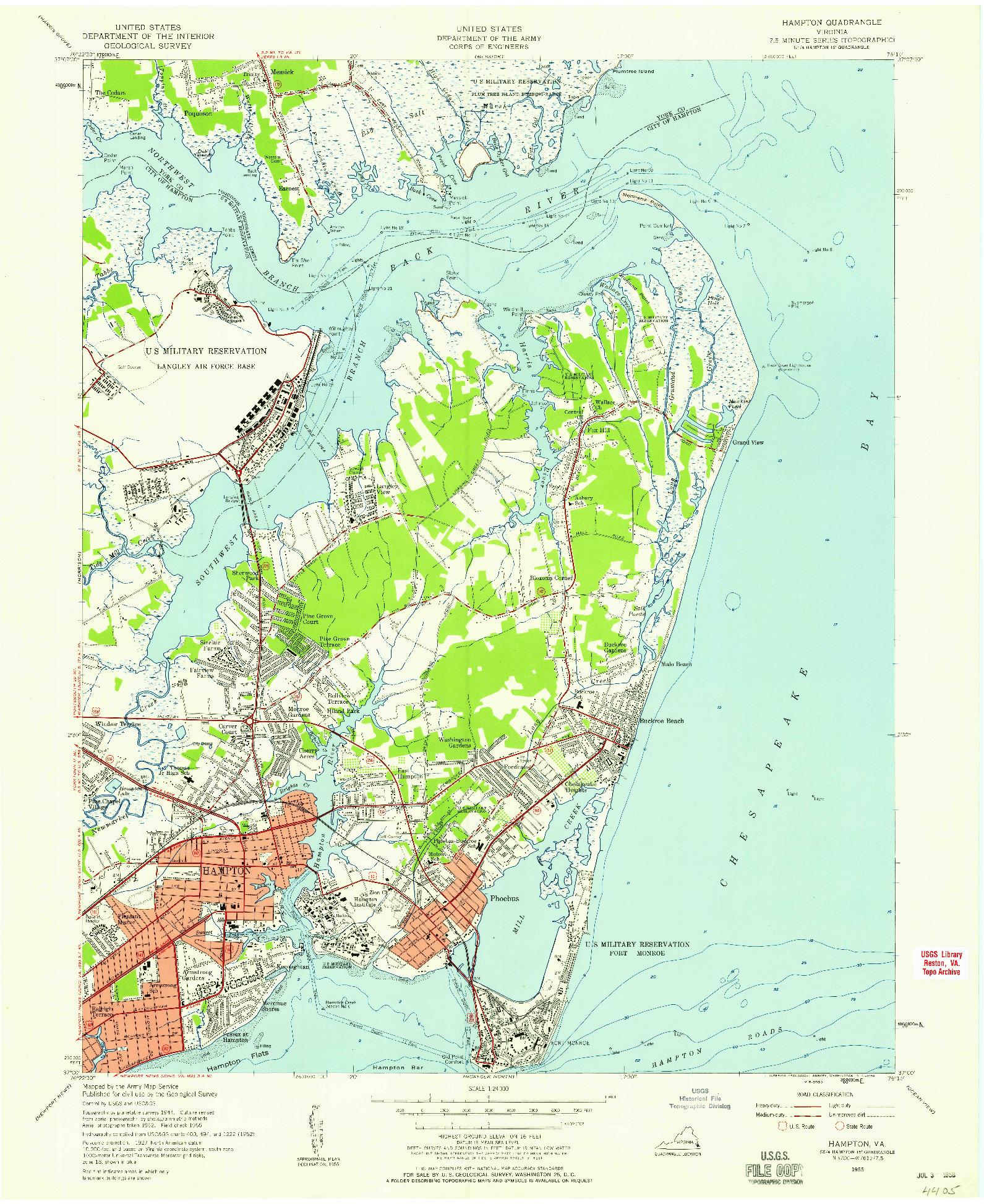 USGS 1:24000-SCALE QUADRANGLE FOR HAMPTON, VA 1955