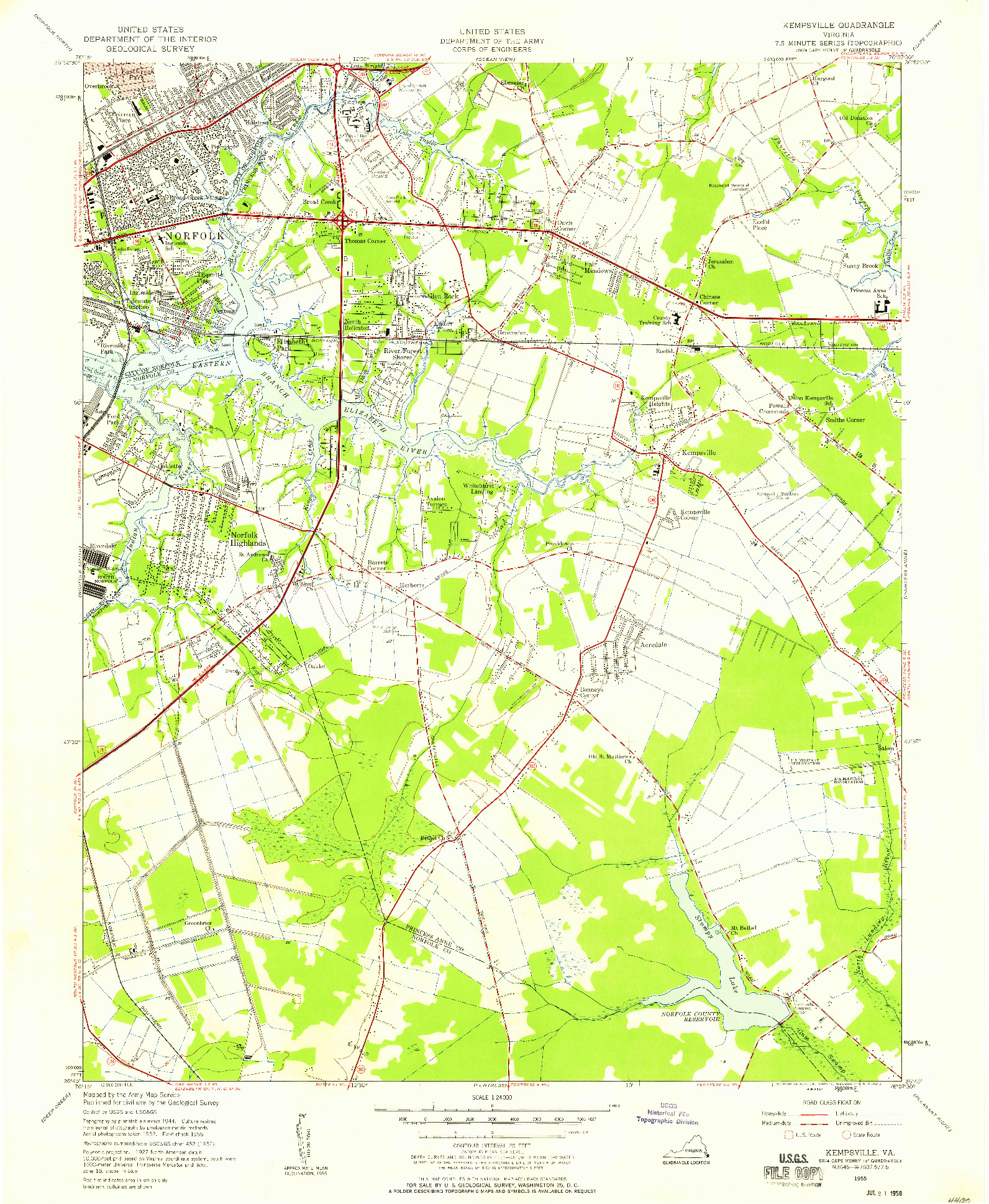 USGS 1:24000-SCALE QUADRANGLE FOR KEMPSVILLE, VA 1955