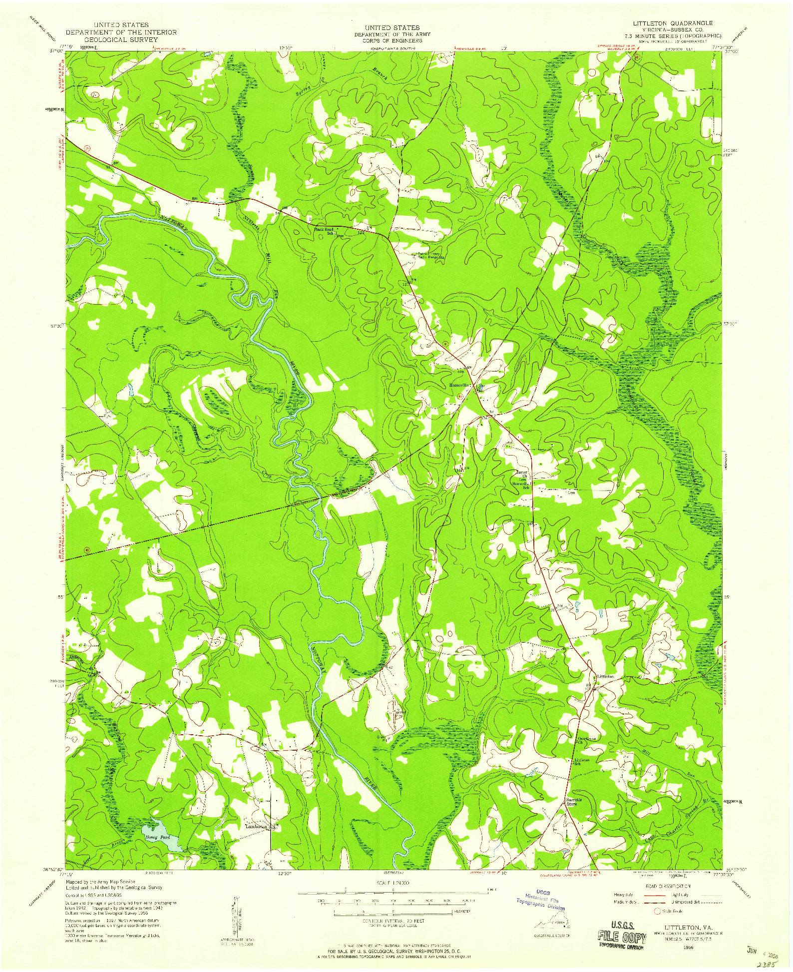 USGS 1:24000-SCALE QUADRANGLE FOR LITTLETON, VA 1956